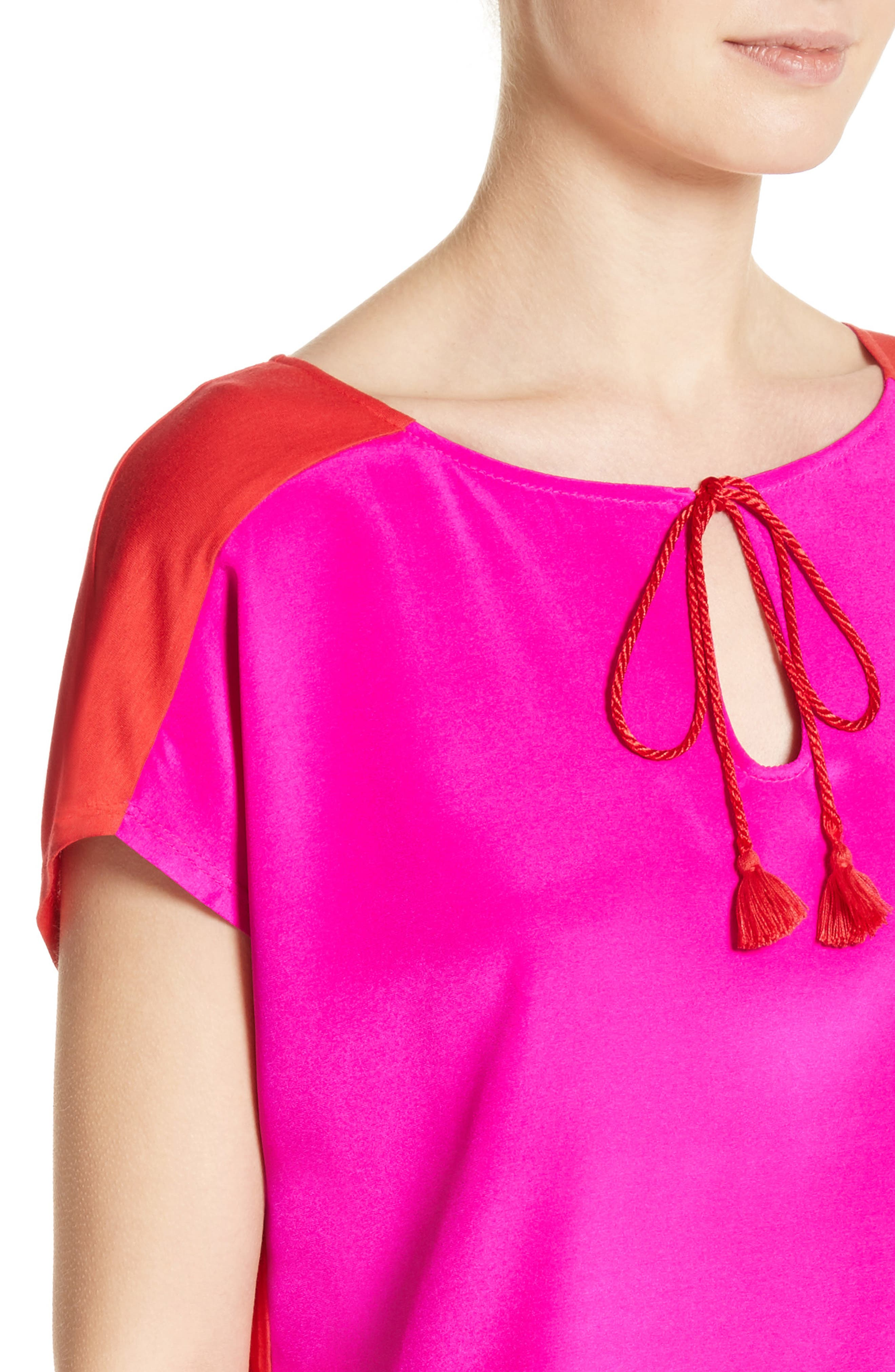 Stretch Silk & Jersey Tassel Blouse,                             Alternate thumbnail 4, color,                             670