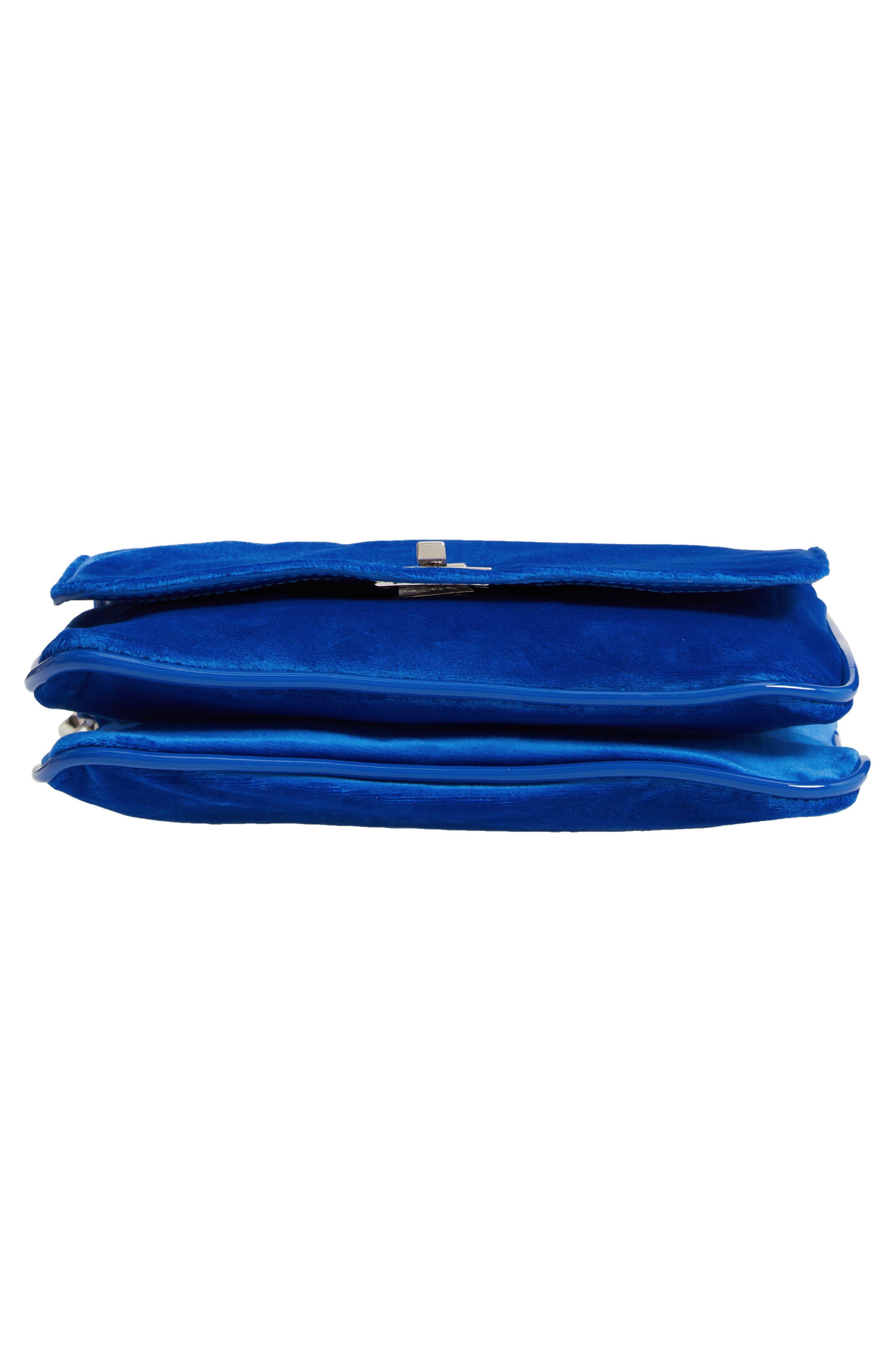 Velvet Crossbody Bag,                             Alternate thumbnail 6, color,                             BLUE