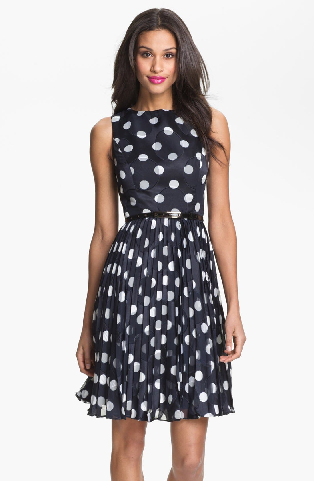 ADRIANNA PAPELL,                             Burnout Polka Dot Fit & Flare Dress,                             Main thumbnail 1, color,                             412