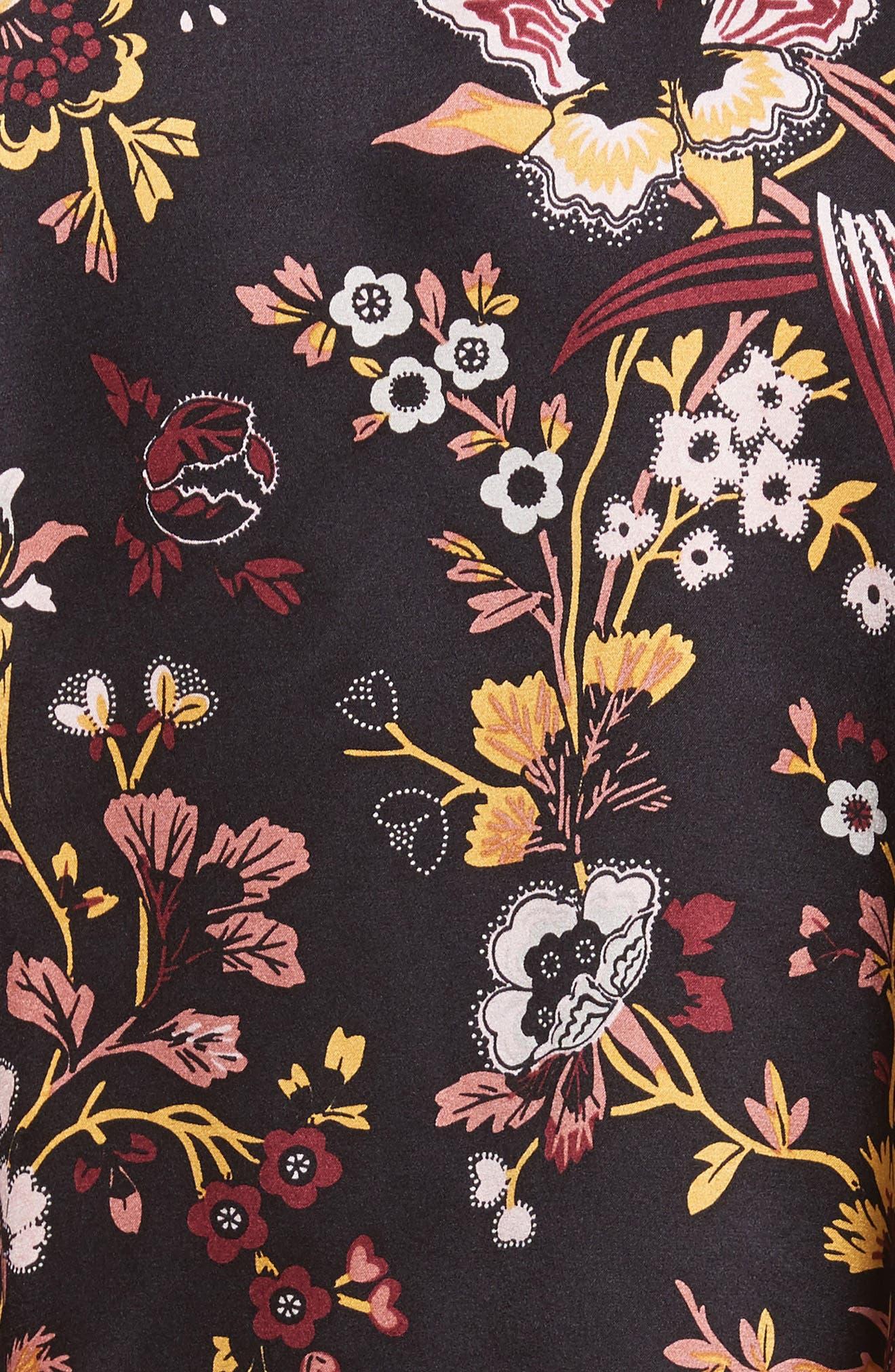 Verbena Floral Print Stretch Silk Dress,                             Alternate thumbnail 5, color,                             002
