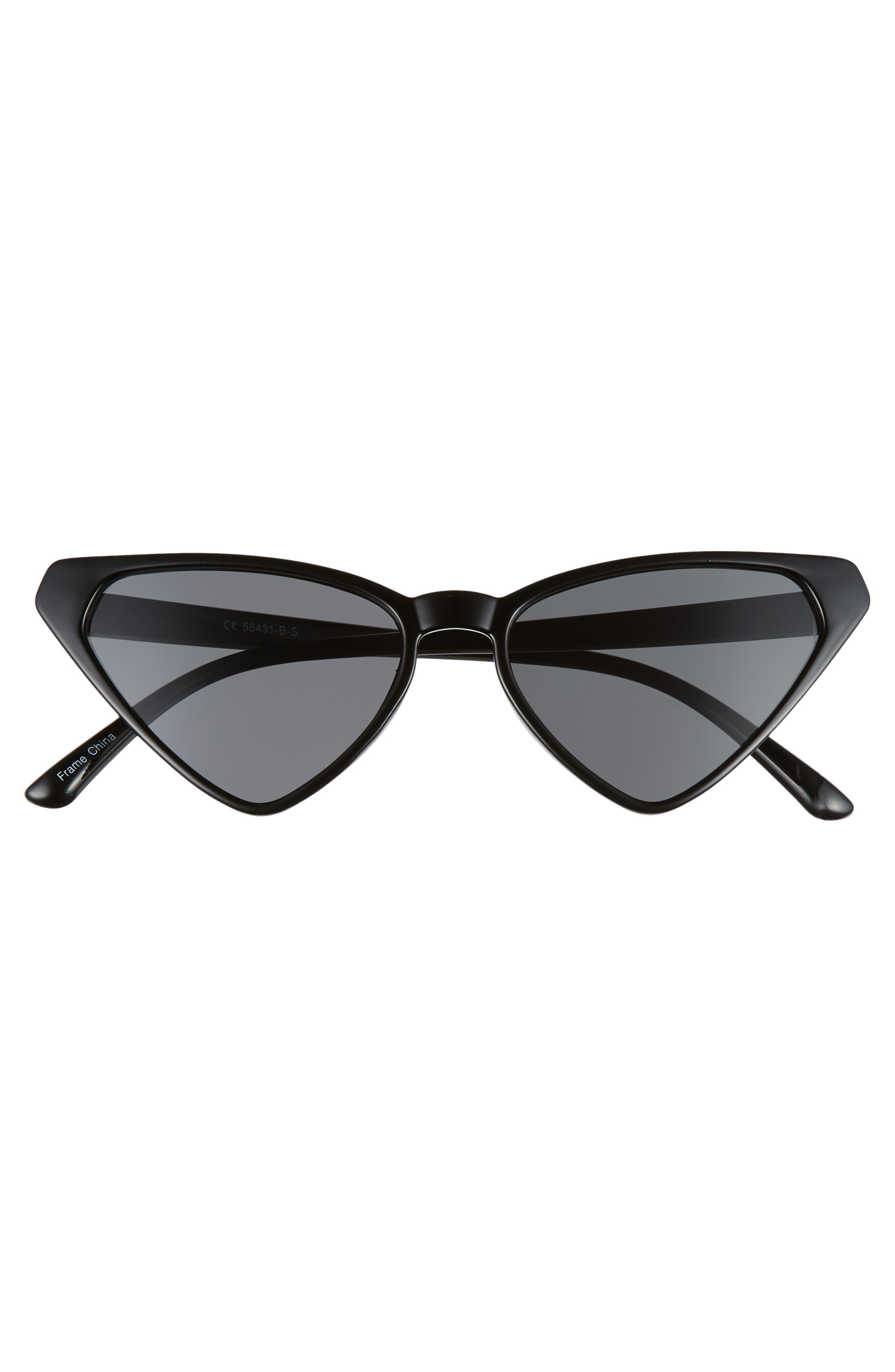54mm Angular Cat Eye Sunglasses,                             Alternate thumbnail 3, color,                             BLACK