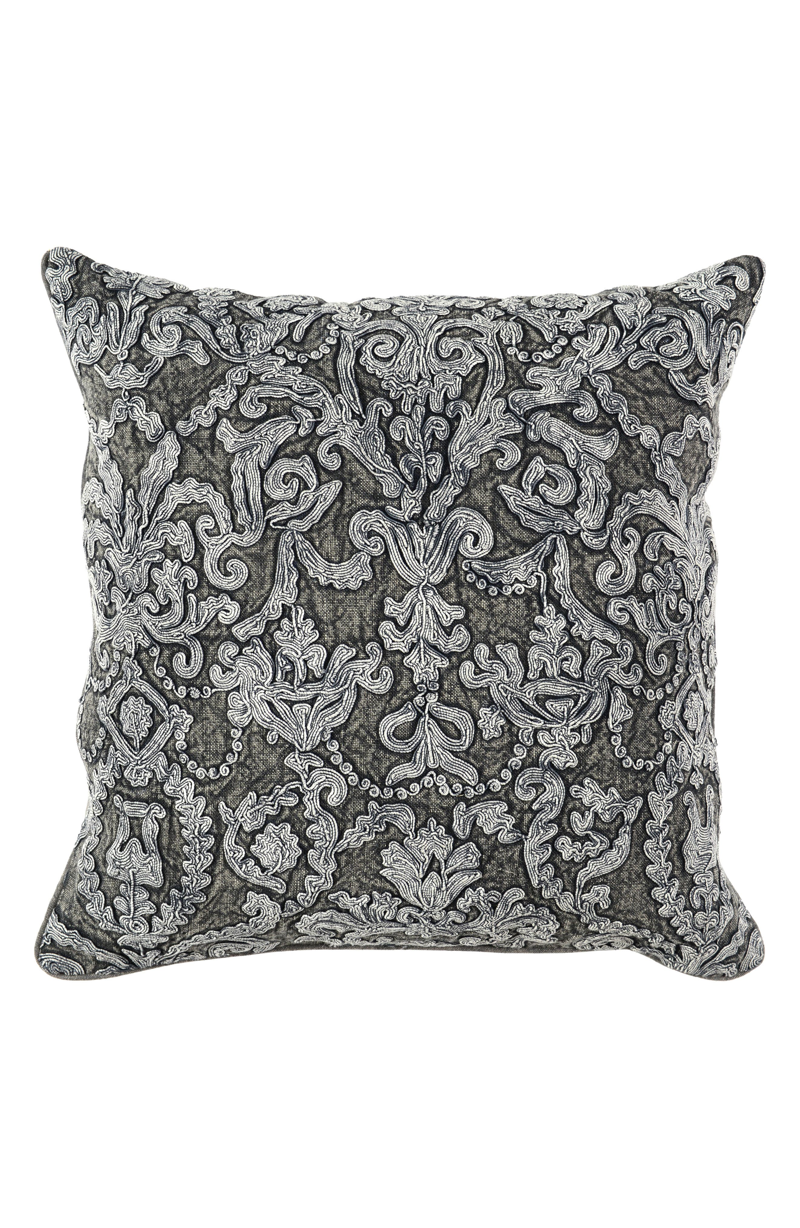 Empress Linen Accent Pillow,                             Main thumbnail 1, color,                             CHARCOAL