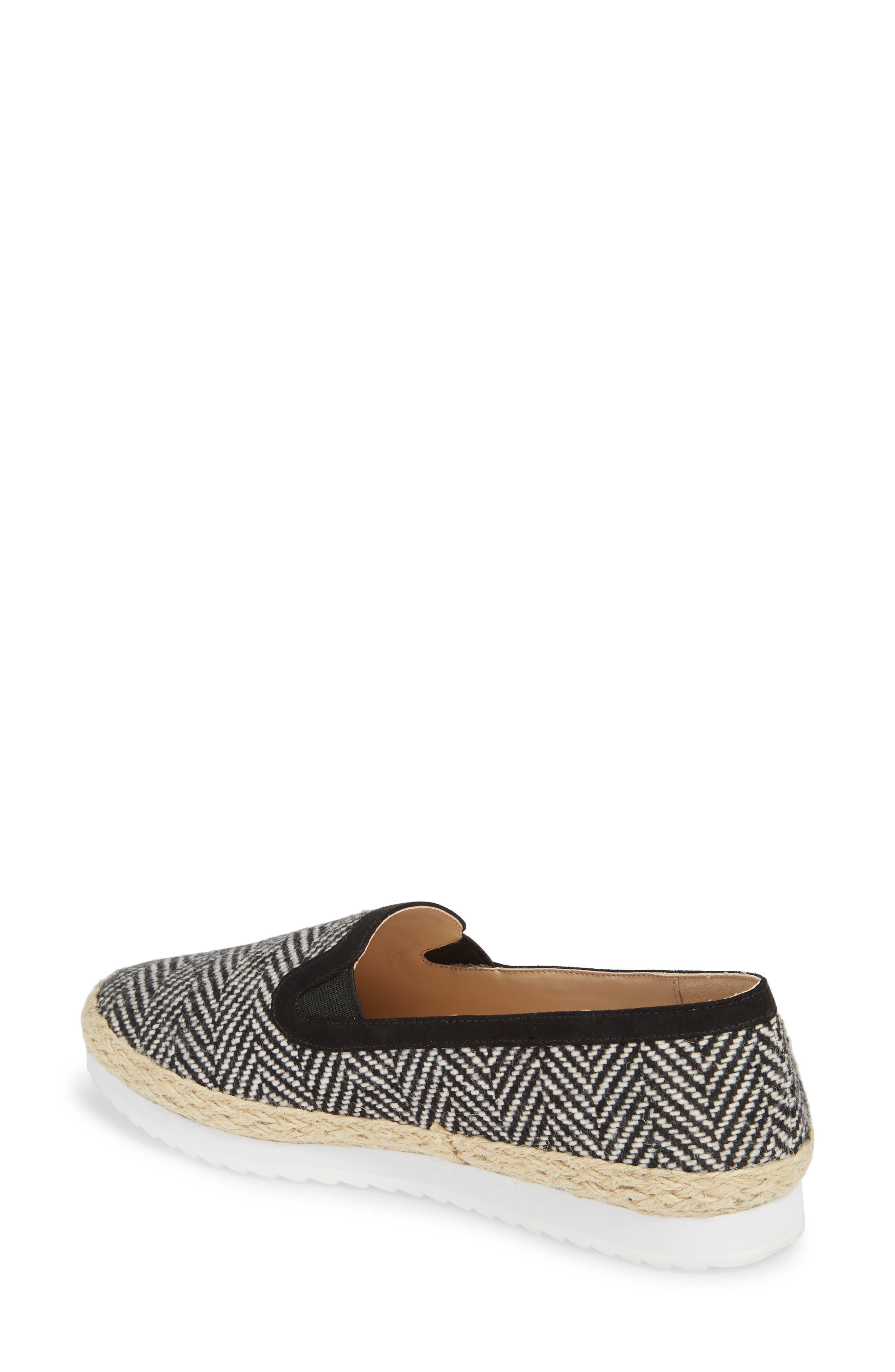 Tight Line Espadrille Flat,                             Alternate thumbnail 2, color,                             BLACK HOUNDSTOOTH FABRIC