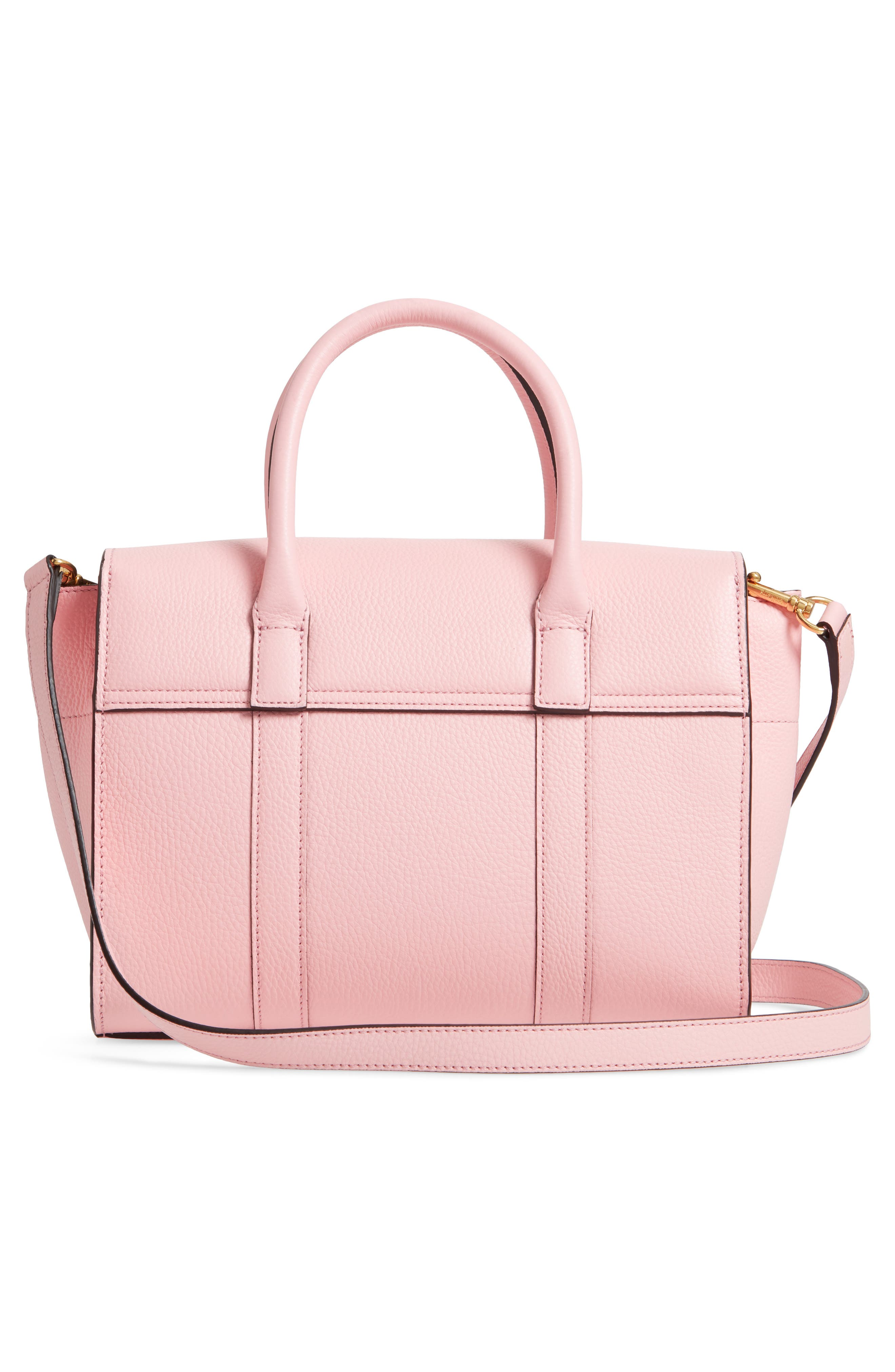Small Bayswater Leather Satchel,                             Alternate thumbnail 3, color,                             SORBET PINK
