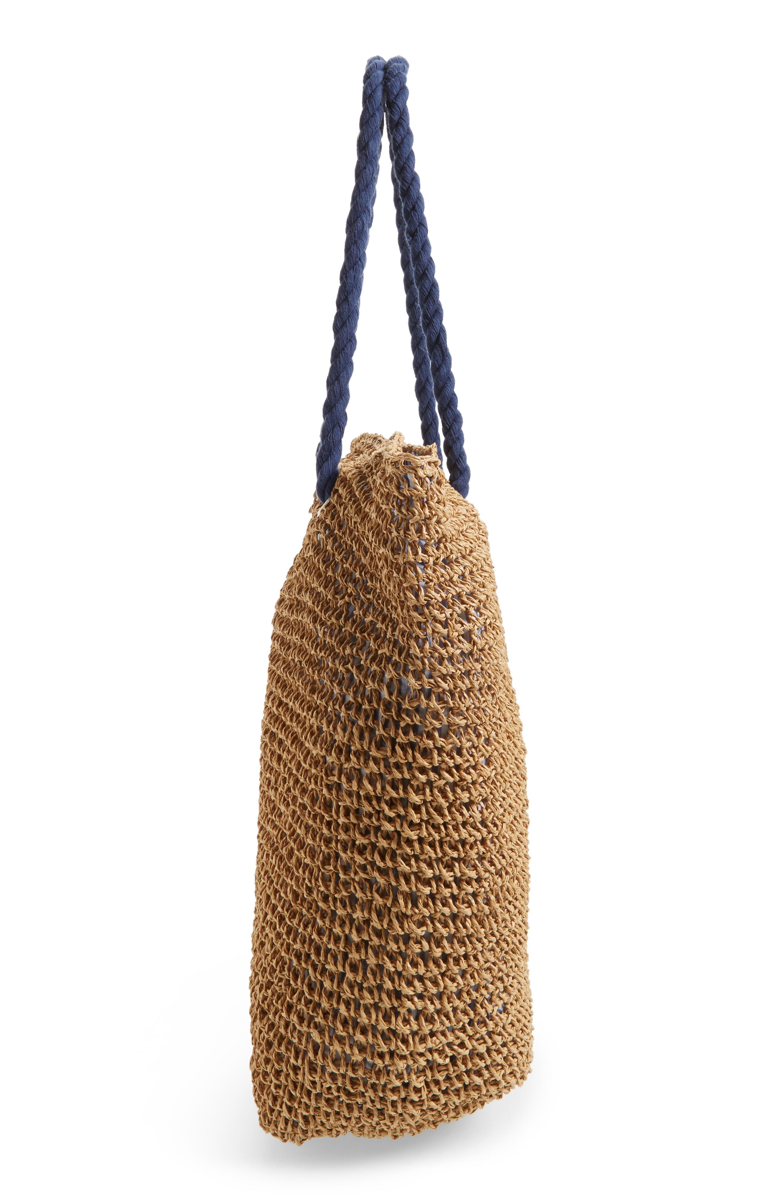 Rope & Straw Tote,                             Alternate thumbnail 5, color,                             200