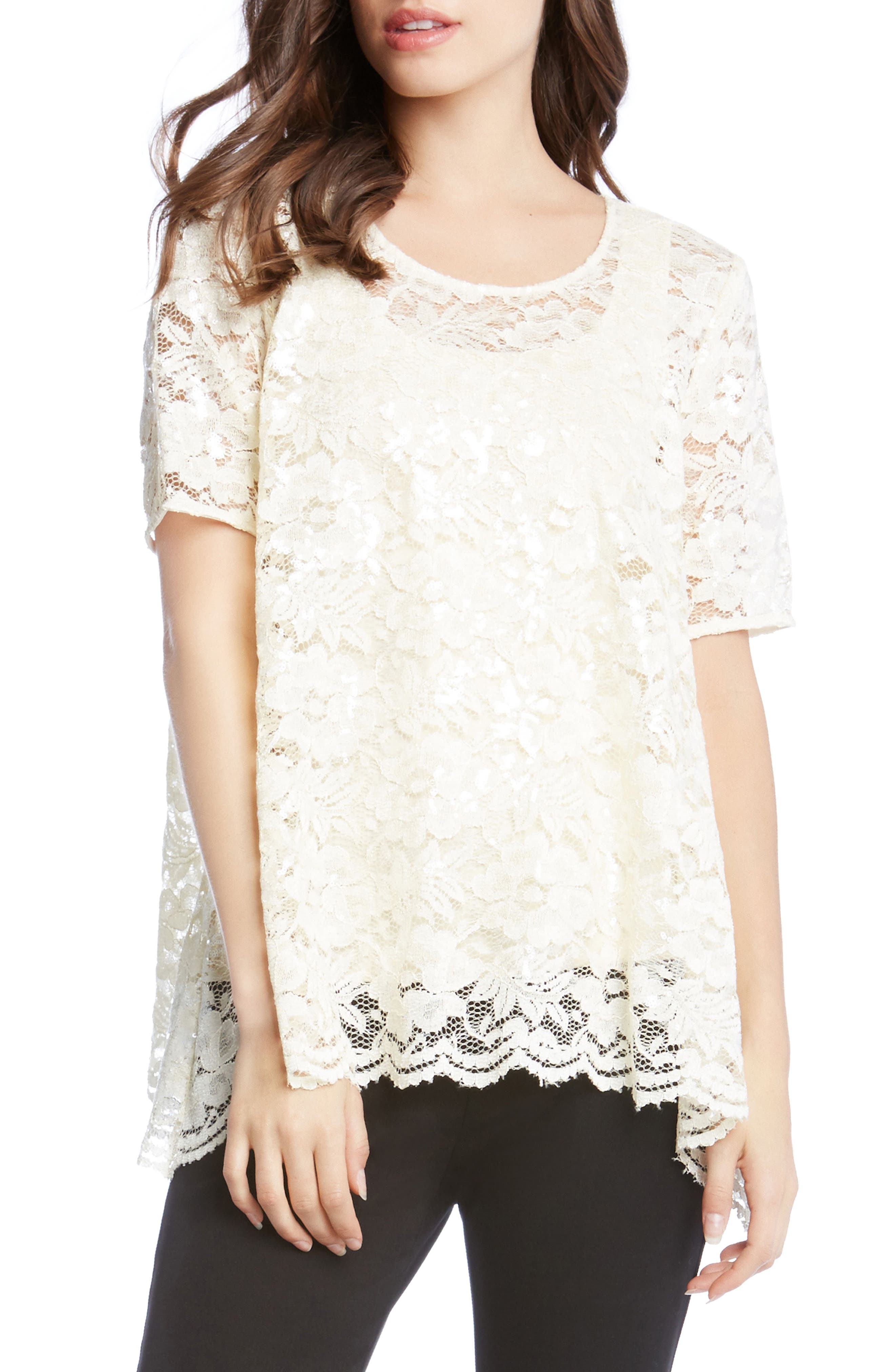 Sequin Lace Flare Top,                             Main thumbnail 2, color,