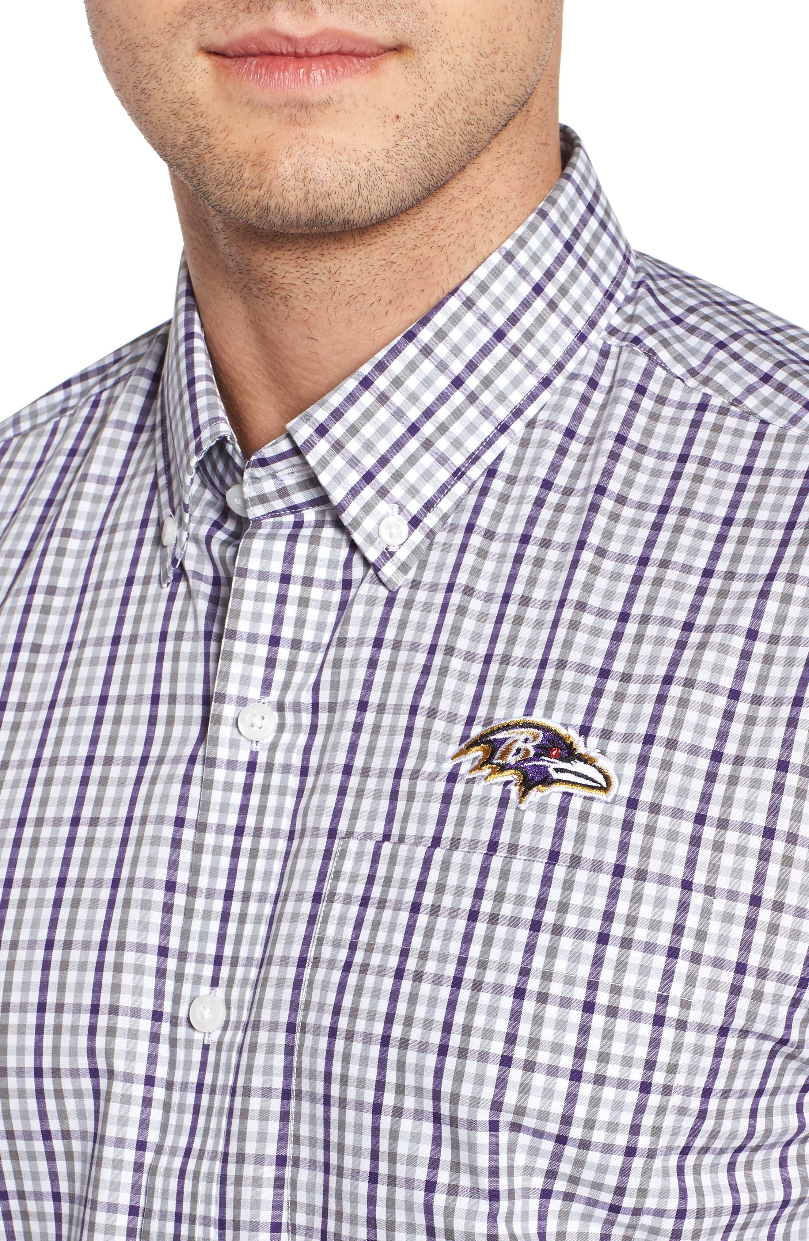 Baltimore Ravens - Gilman Regular Fit Plaid Sport Shirt,                             Alternate thumbnail 4, color,                             541