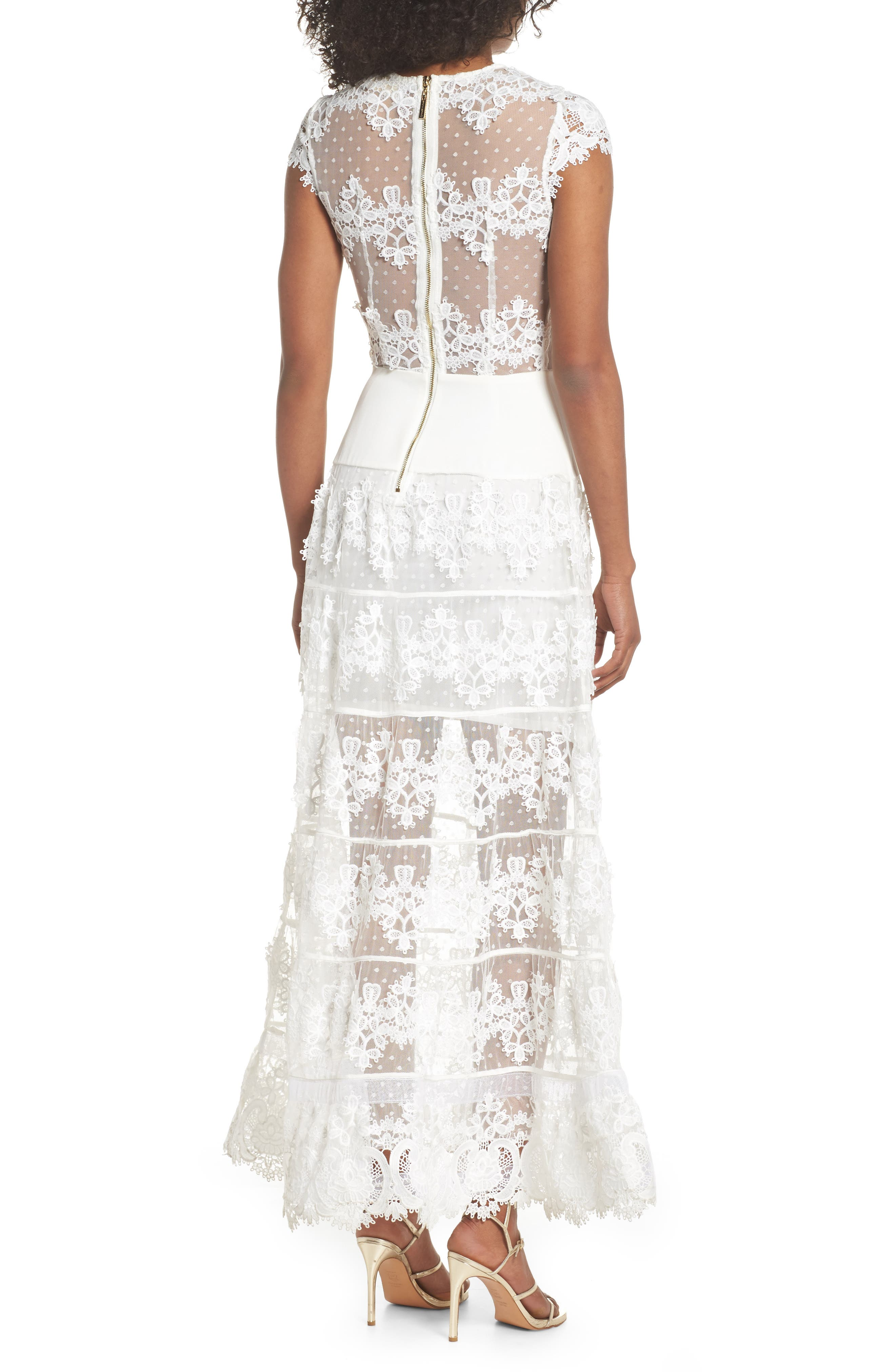 Flamenco Lace Inset Gown,                             Alternate thumbnail 2, color,                             WHITE