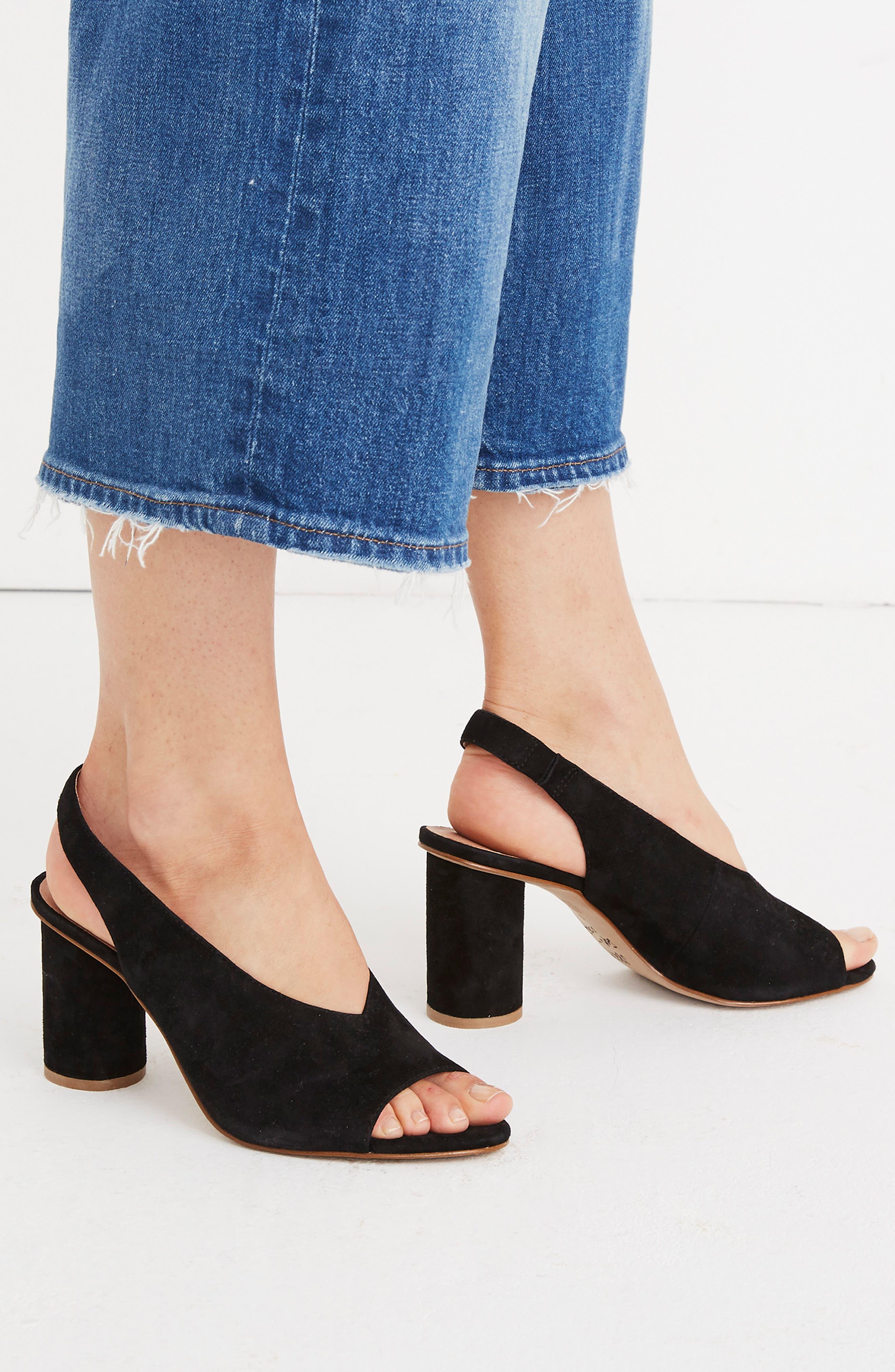 The Alana Slingback Sandal,                             Alternate thumbnail 9, color,                             TRUE BLACK SUEDE