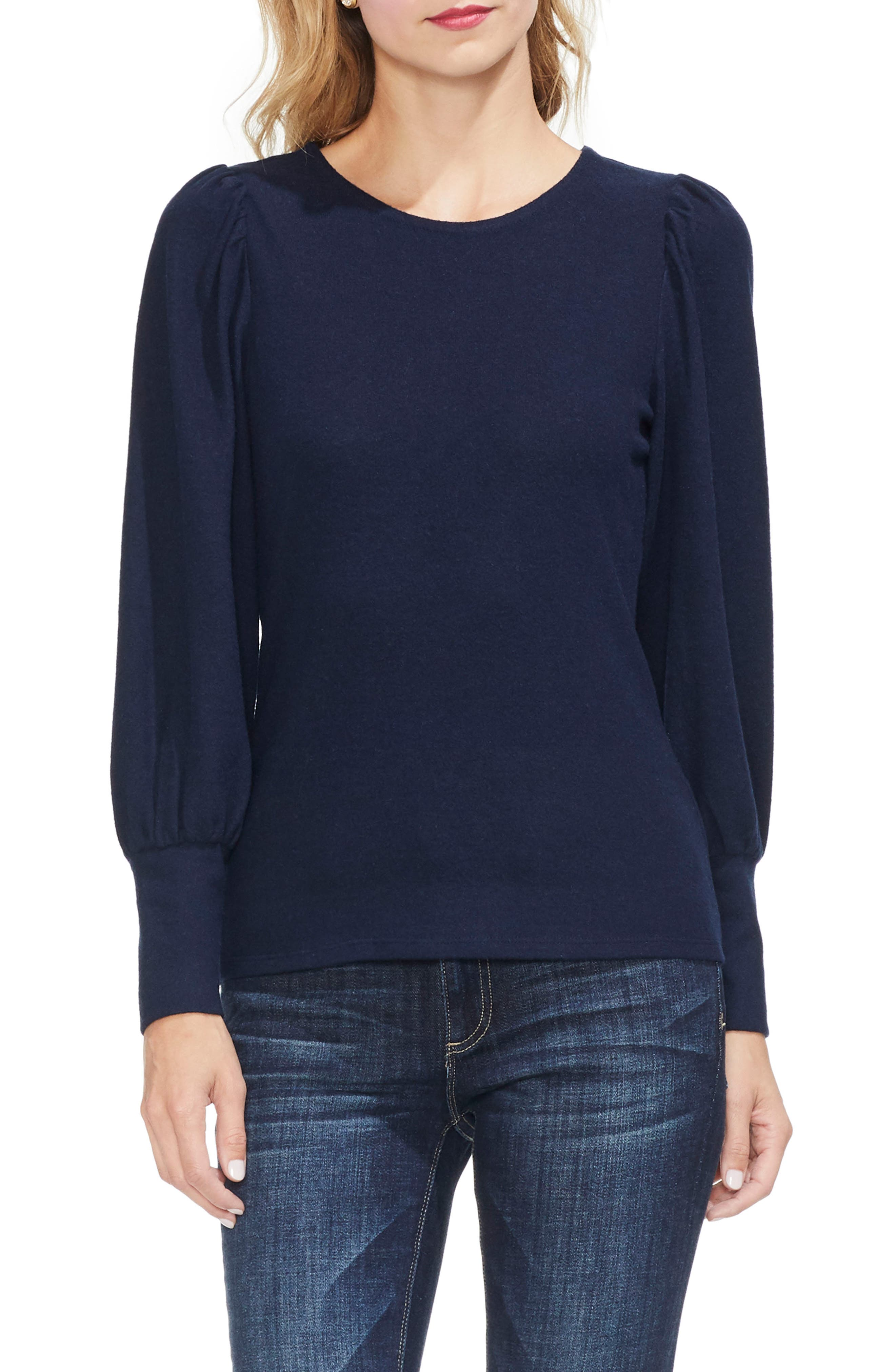 Vince Camuto Bubble Sleeve Knit Top, Blue