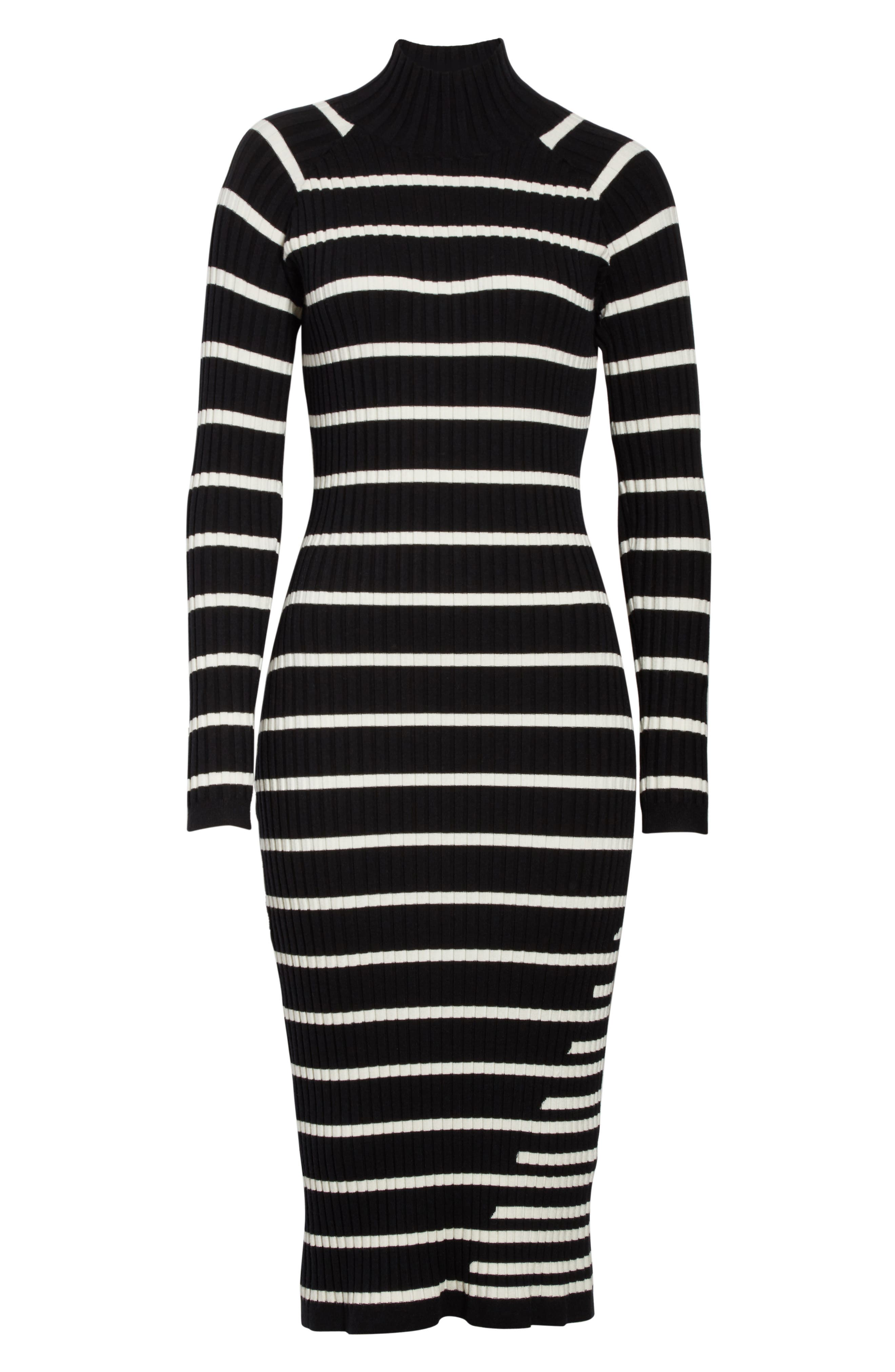 Stripe Knit Turtleneck Dress,                             Alternate thumbnail 7, color,                             004