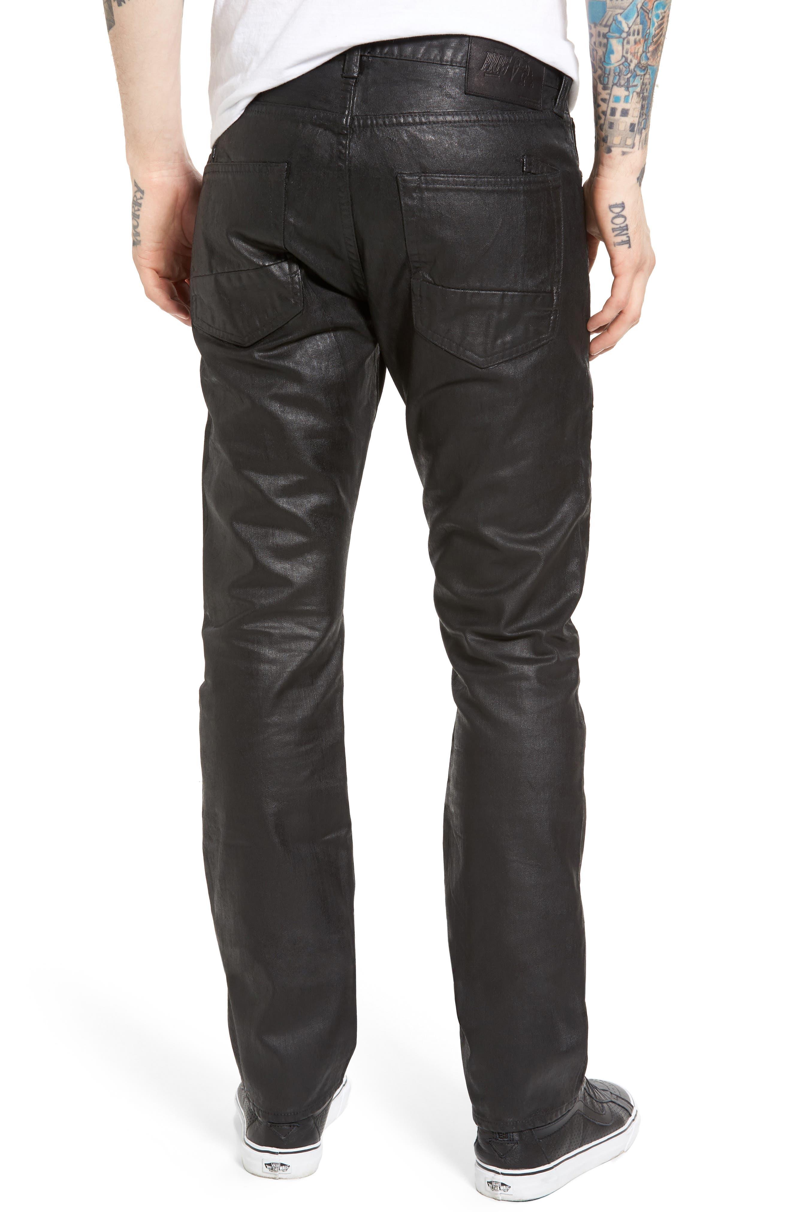 Demon Slim Straight Coated Jeans,                             Alternate thumbnail 2, color,                             BLACK