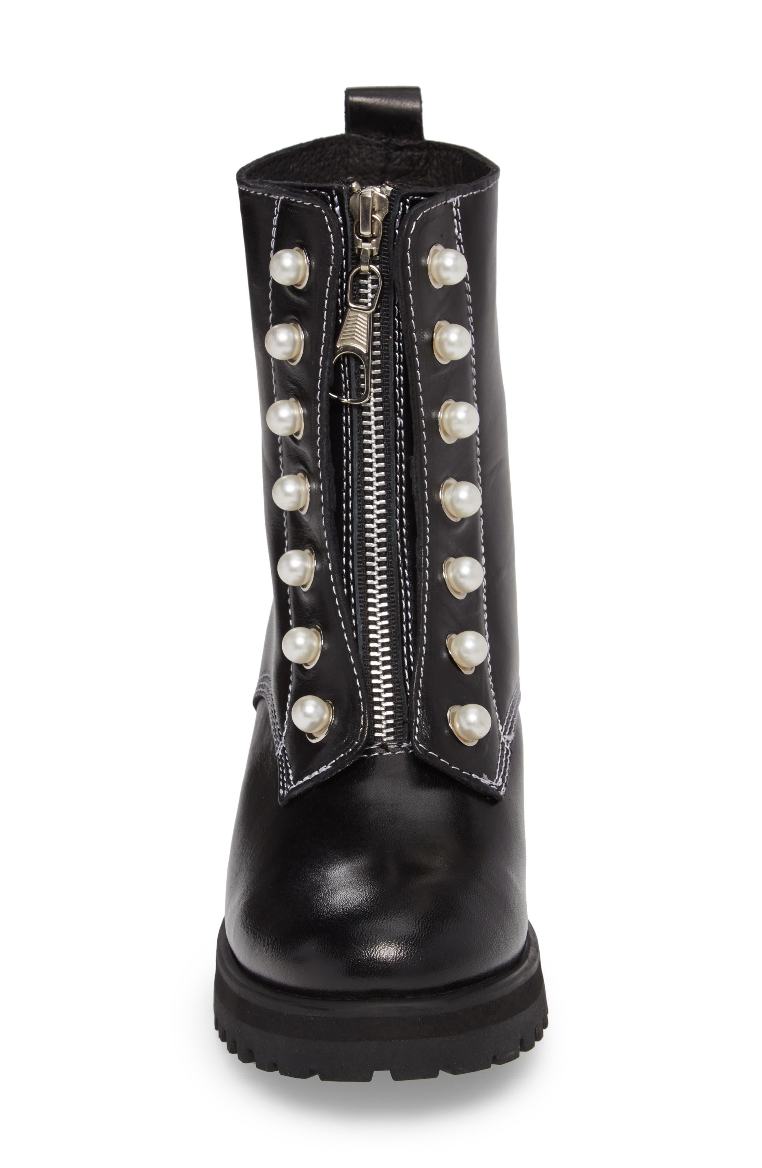 STEVE MADDEN,                             Granite Embellished Zip Boot,                             Alternate thumbnail 4, color,                             001