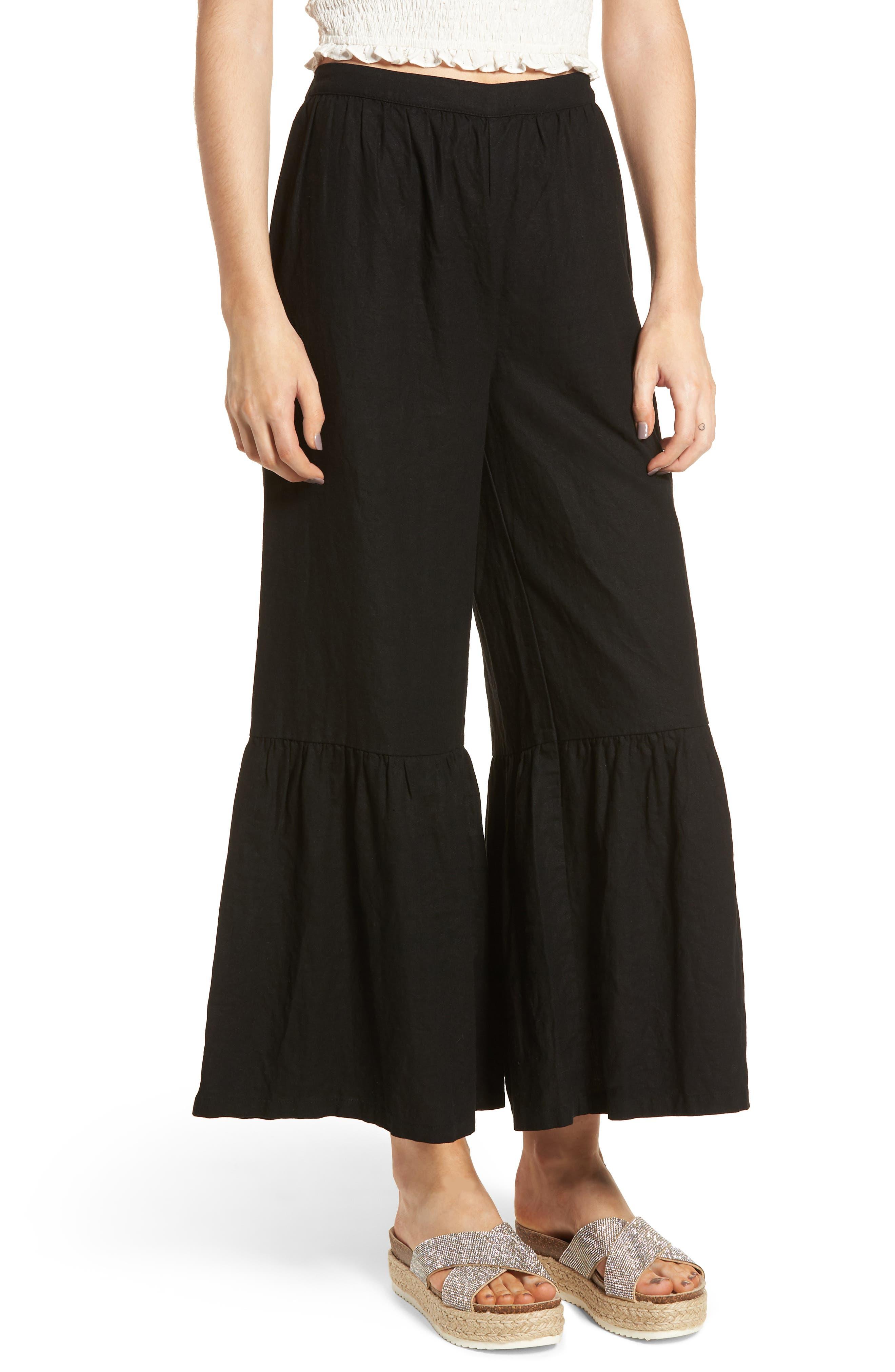 Ruffle Hem Linen Blend Crop Pants,                             Main thumbnail 1, color,                             001
