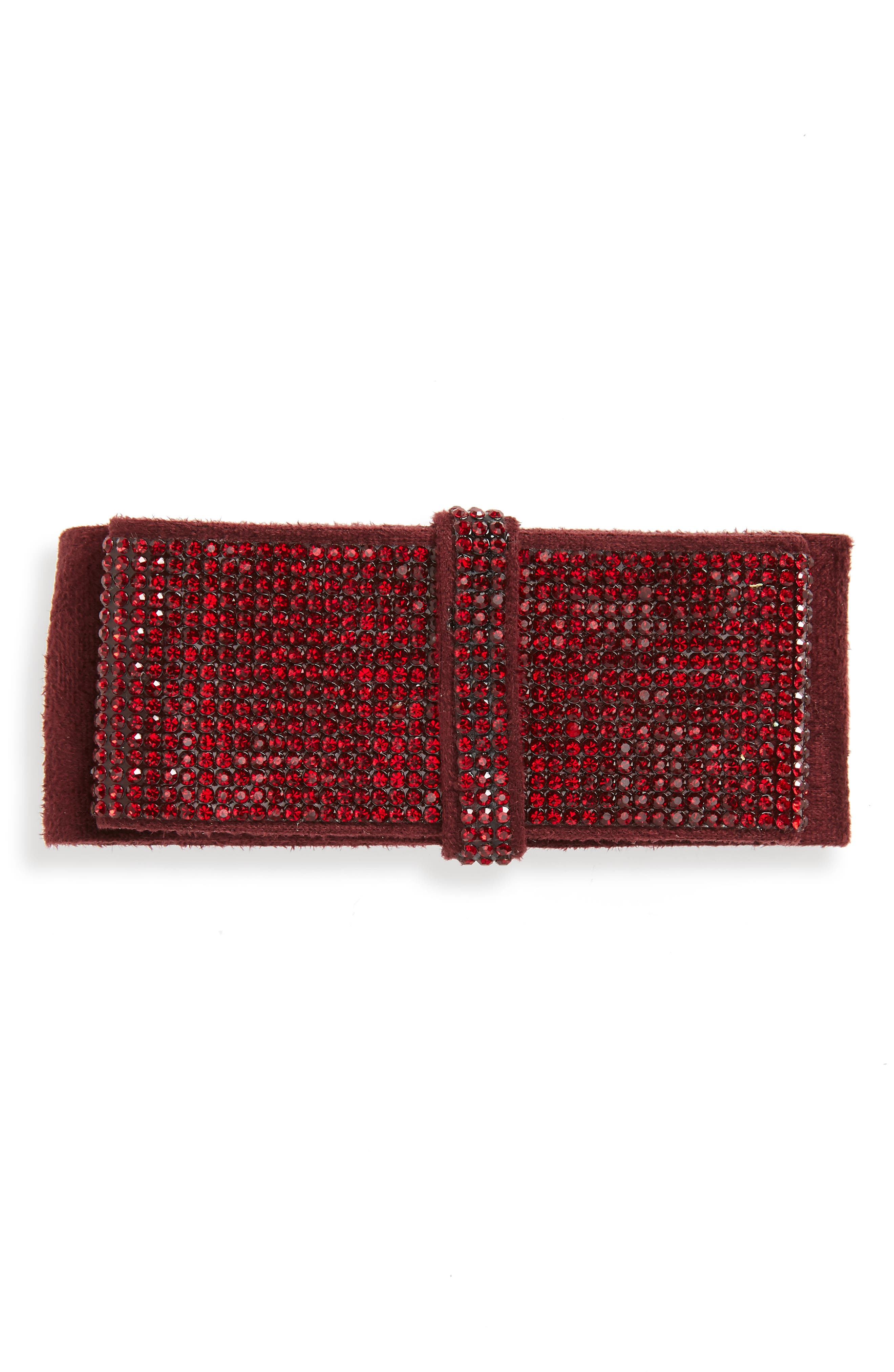 Manière Sparkle Swarovski Crystal Barrette,                             Main thumbnail 1, color,                             RED