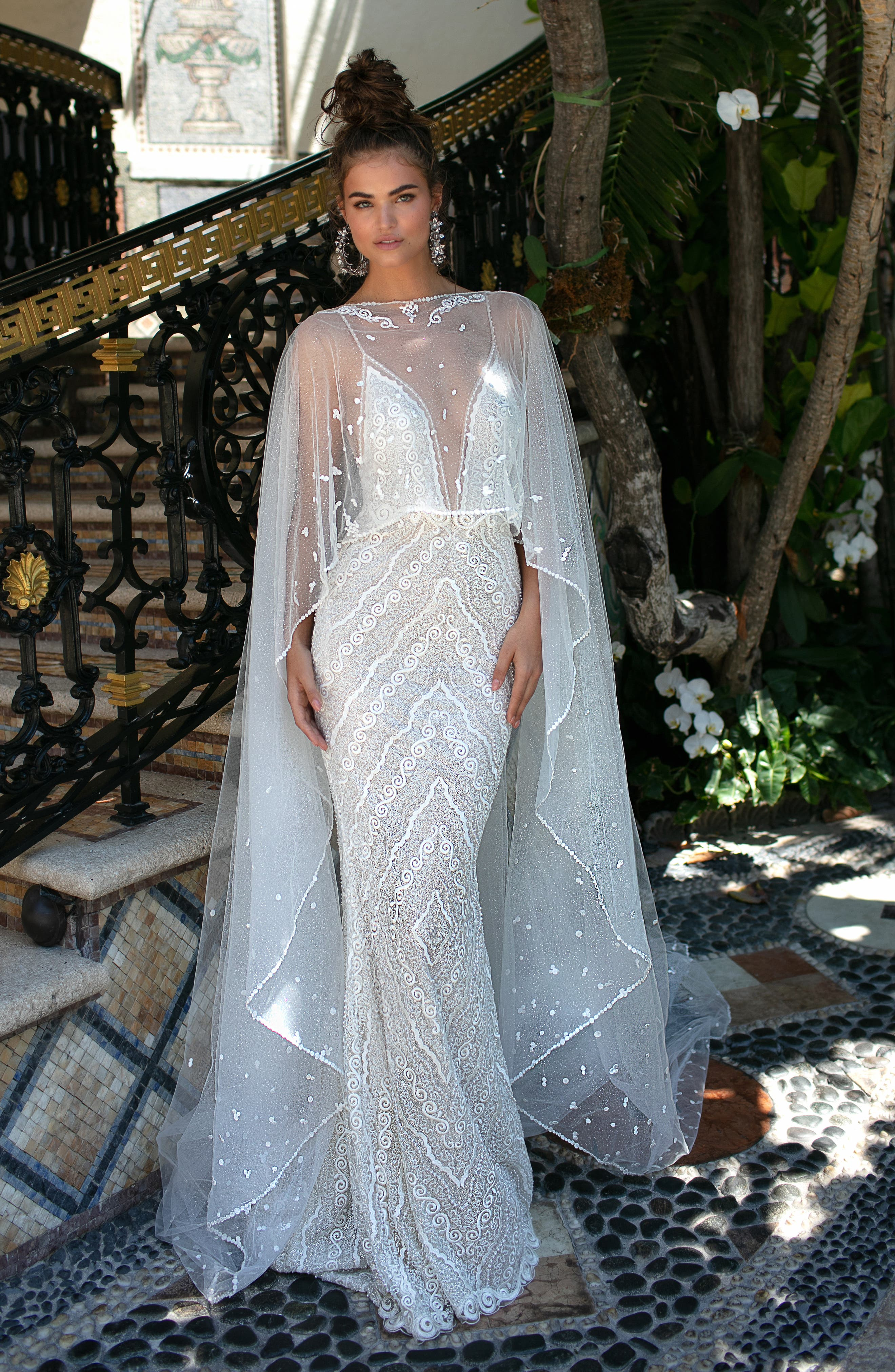 Beaded Strap Embroidered Trumpet Gown,                             Alternate thumbnail 4, color,                             IVORY