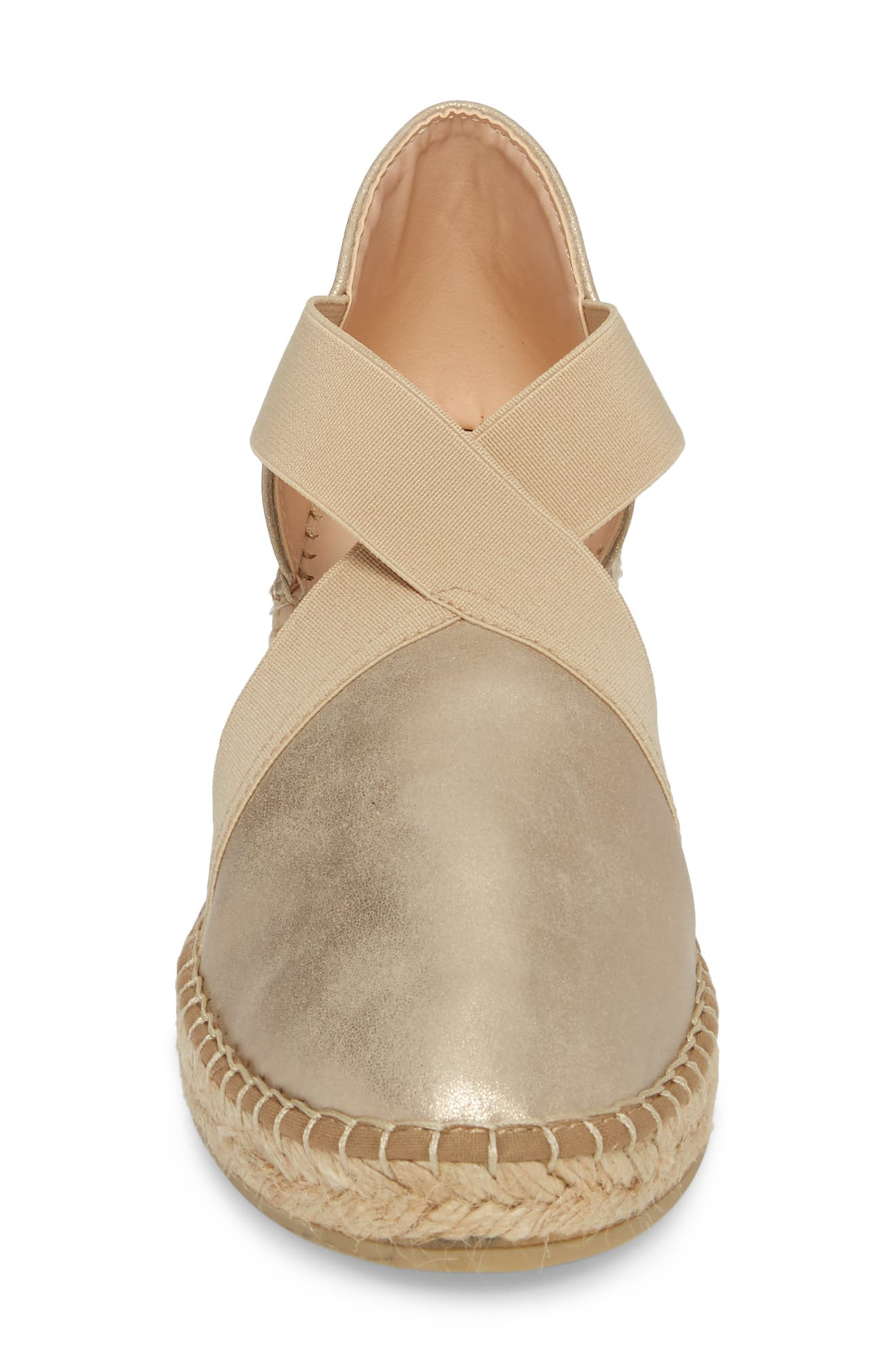 Monaco Espadrille Wedge,                             Alternate thumbnail 4, color,                             PEWTER LEATHER