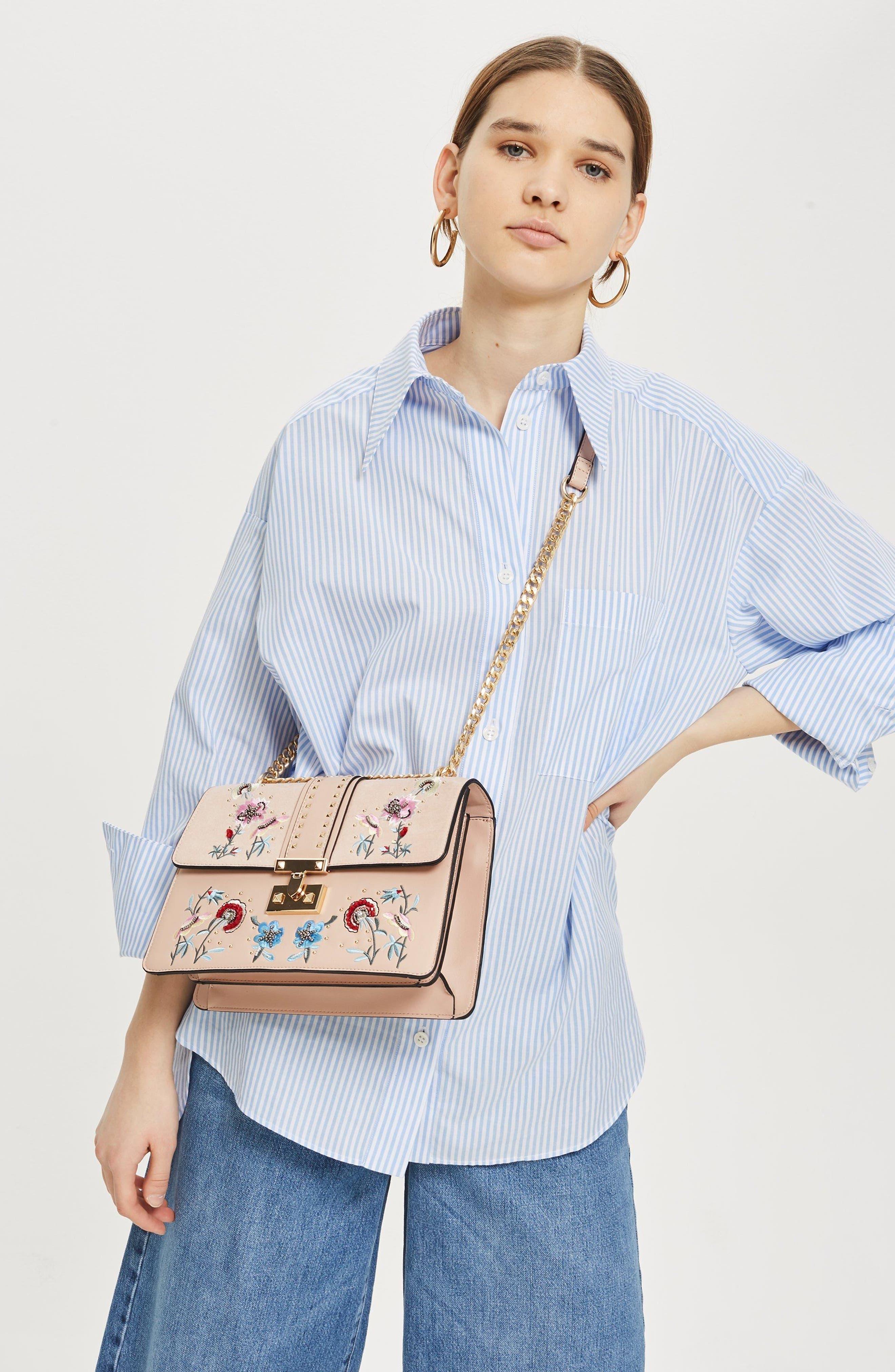 Darcy Floral Shoulder Bag,                             Alternate thumbnail 9, color,                             PINK MULTI