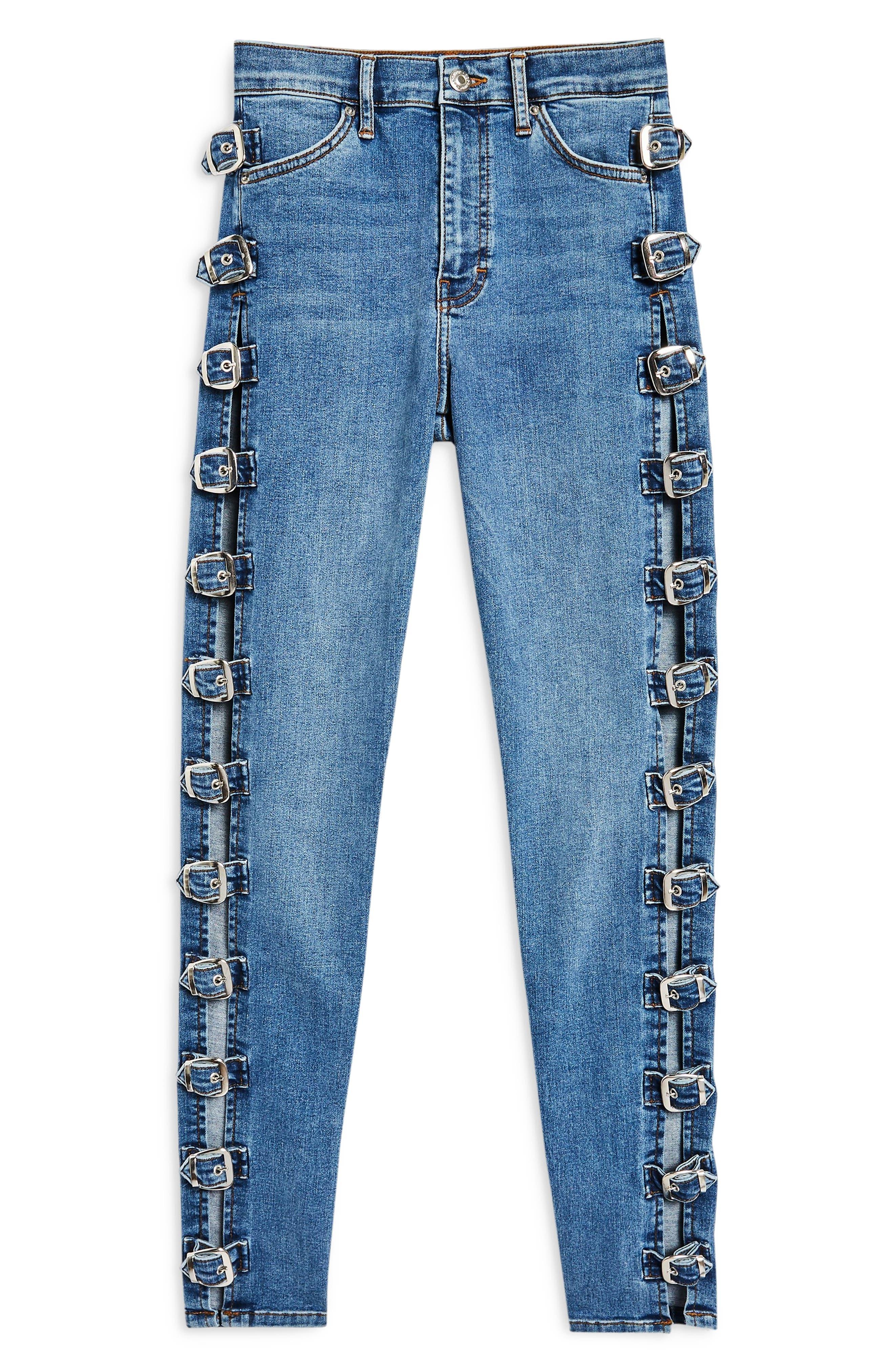 TOPSHOP,                             Jamie Side Buckle Jeans,                             Alternate thumbnail 4, color,                             420