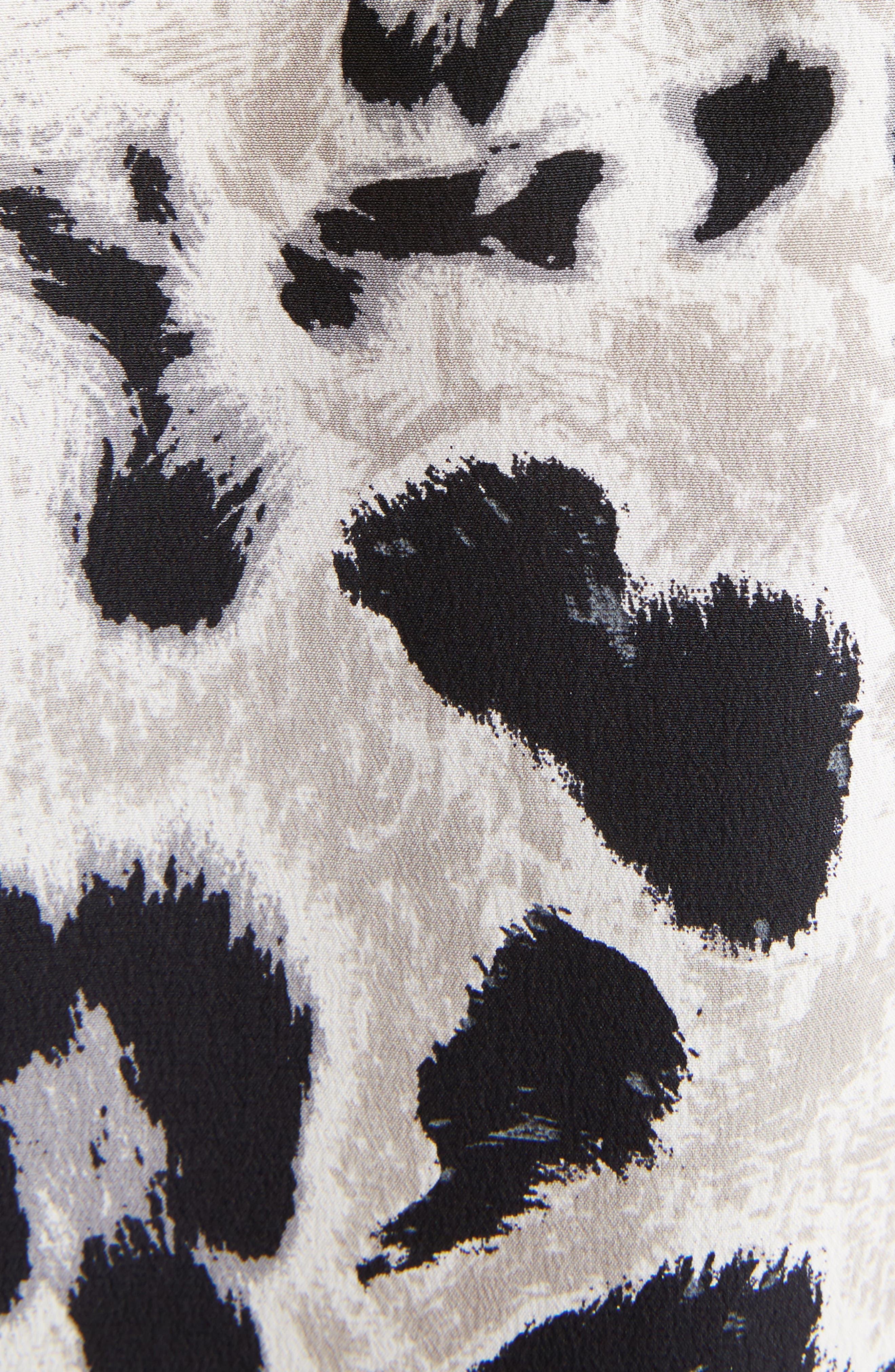 Logo & Leopard Print Silk Crêpe de Chine Blouse,                             Alternate thumbnail 5, color,                             011