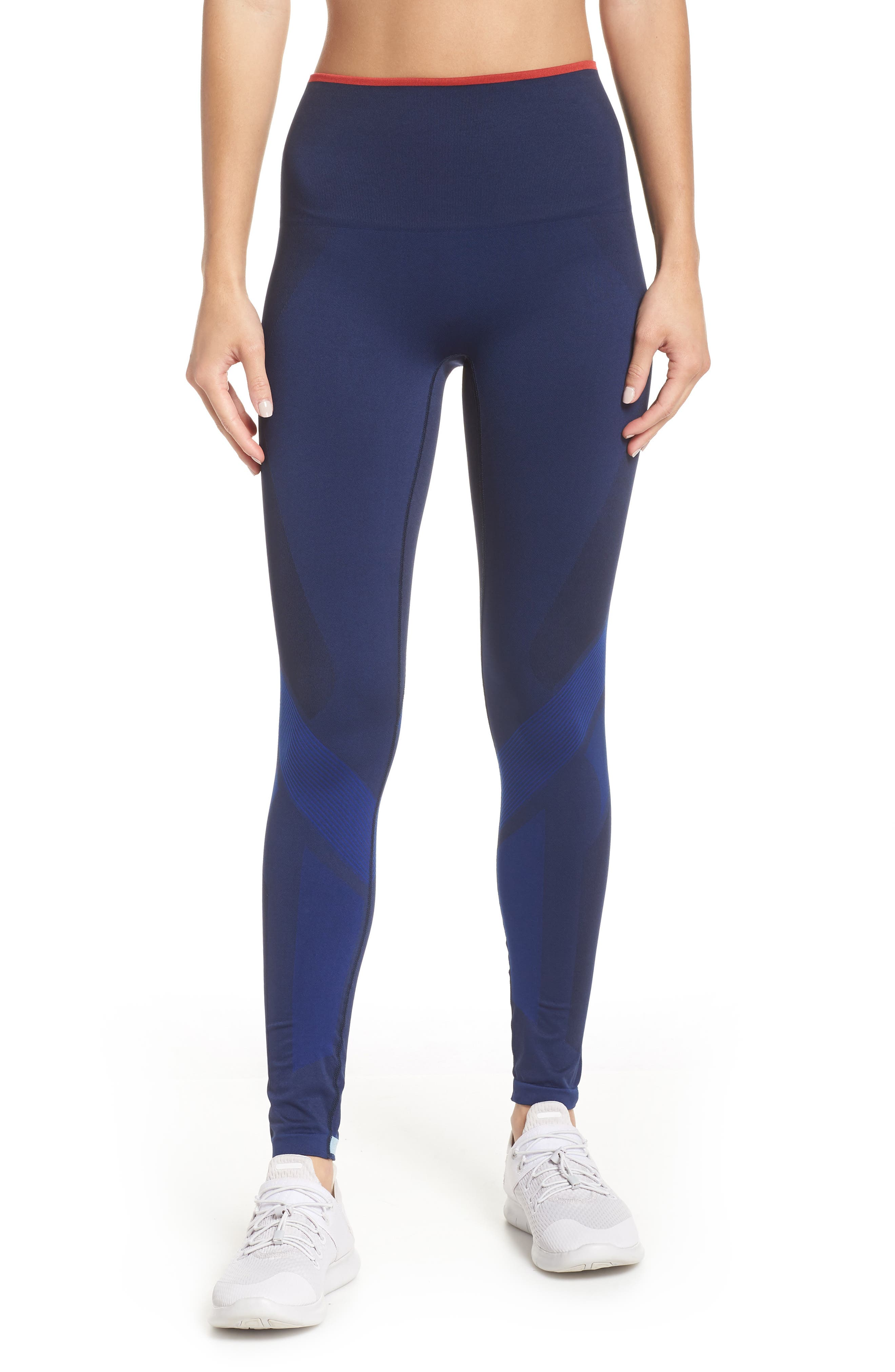 Motion High Waist Seamless Leggings,                         Main,                         color, NAVY / BLUE