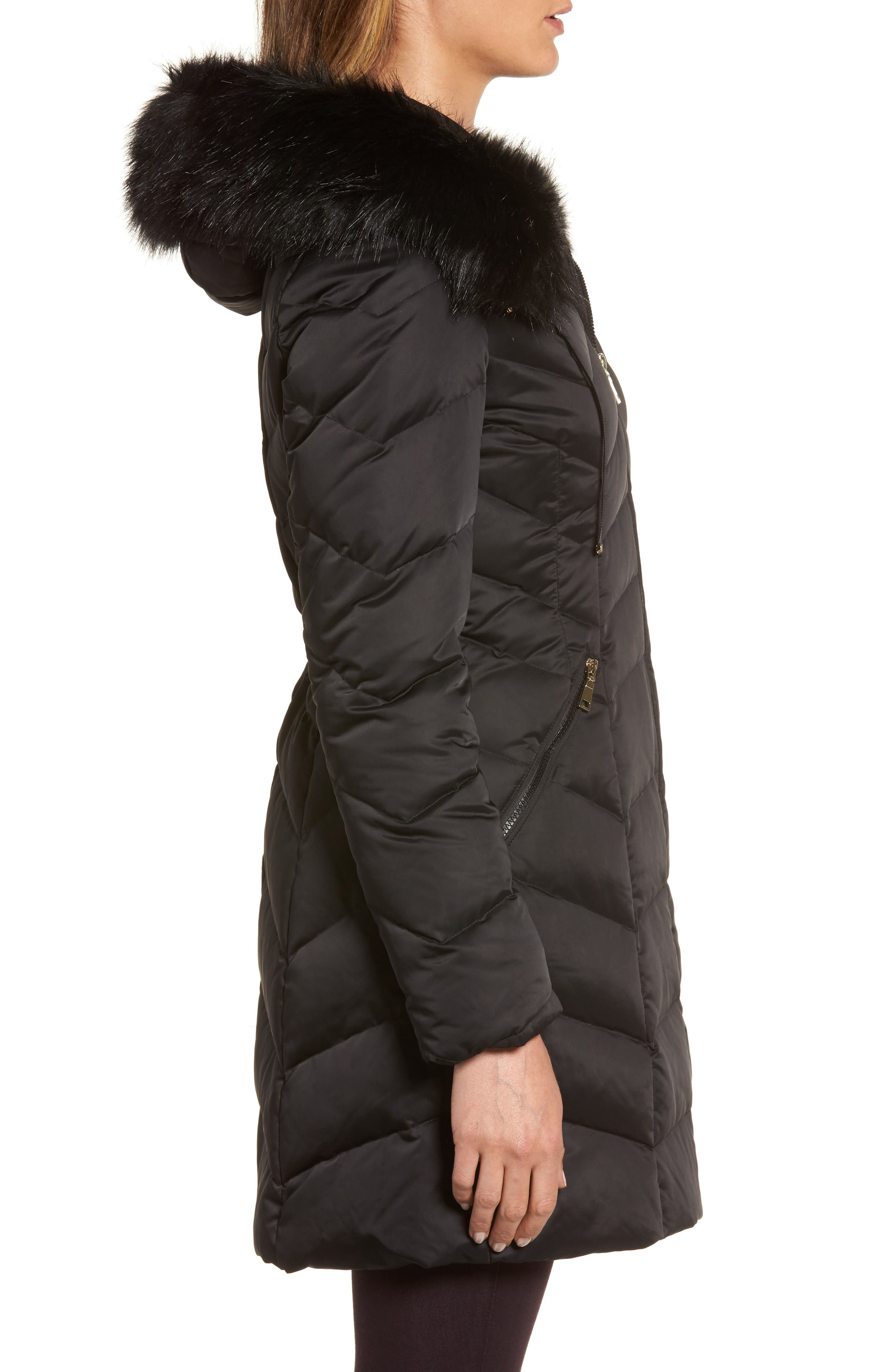 Gwen Chevron Down & Feather Faux Fur Coat,                             Alternate thumbnail 3, color,                             BLACK