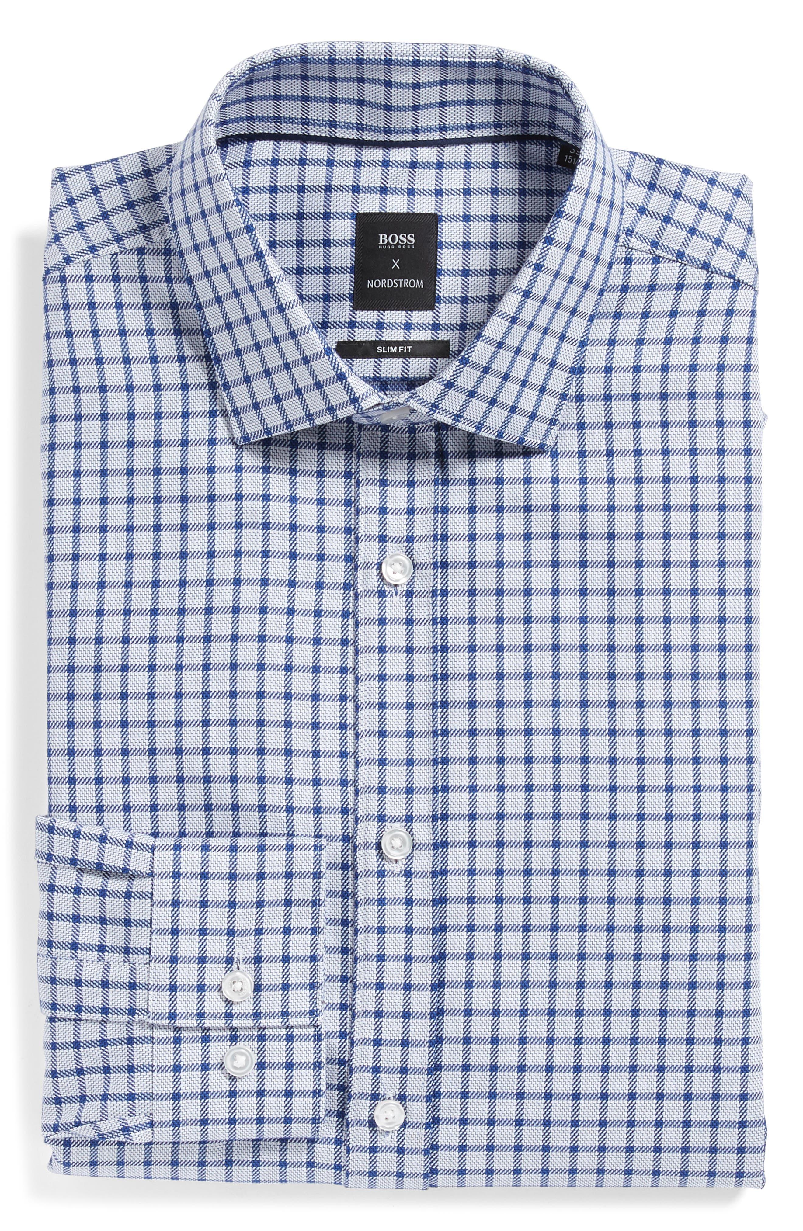 x Nordstrom Isaac Slim Fit Check Dress Shirt,                             Alternate thumbnail 5, color,                             BLUE