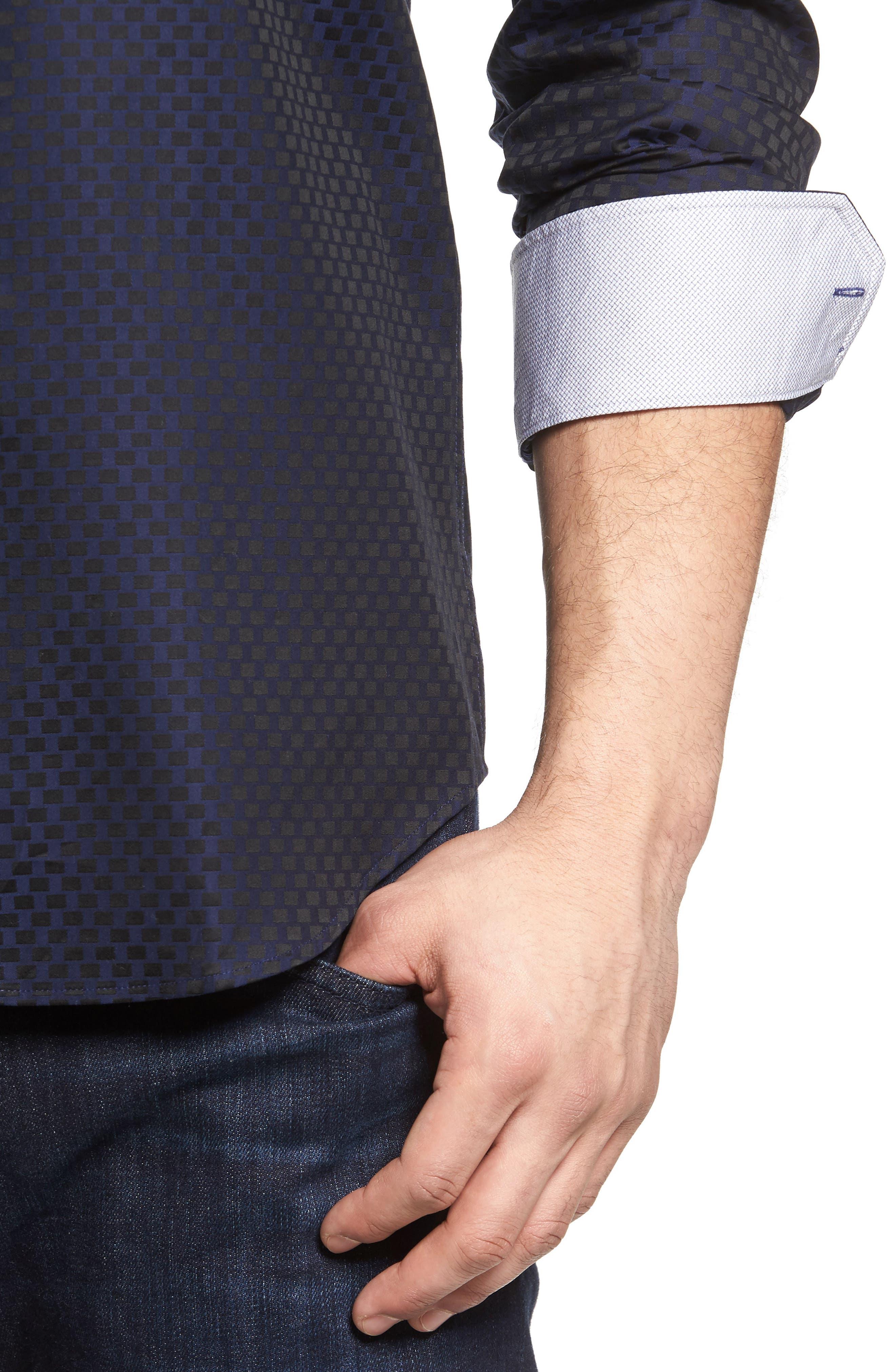 Shaped Fit Rectangle Jacquard Sport Shirt,                             Alternate thumbnail 11, color,