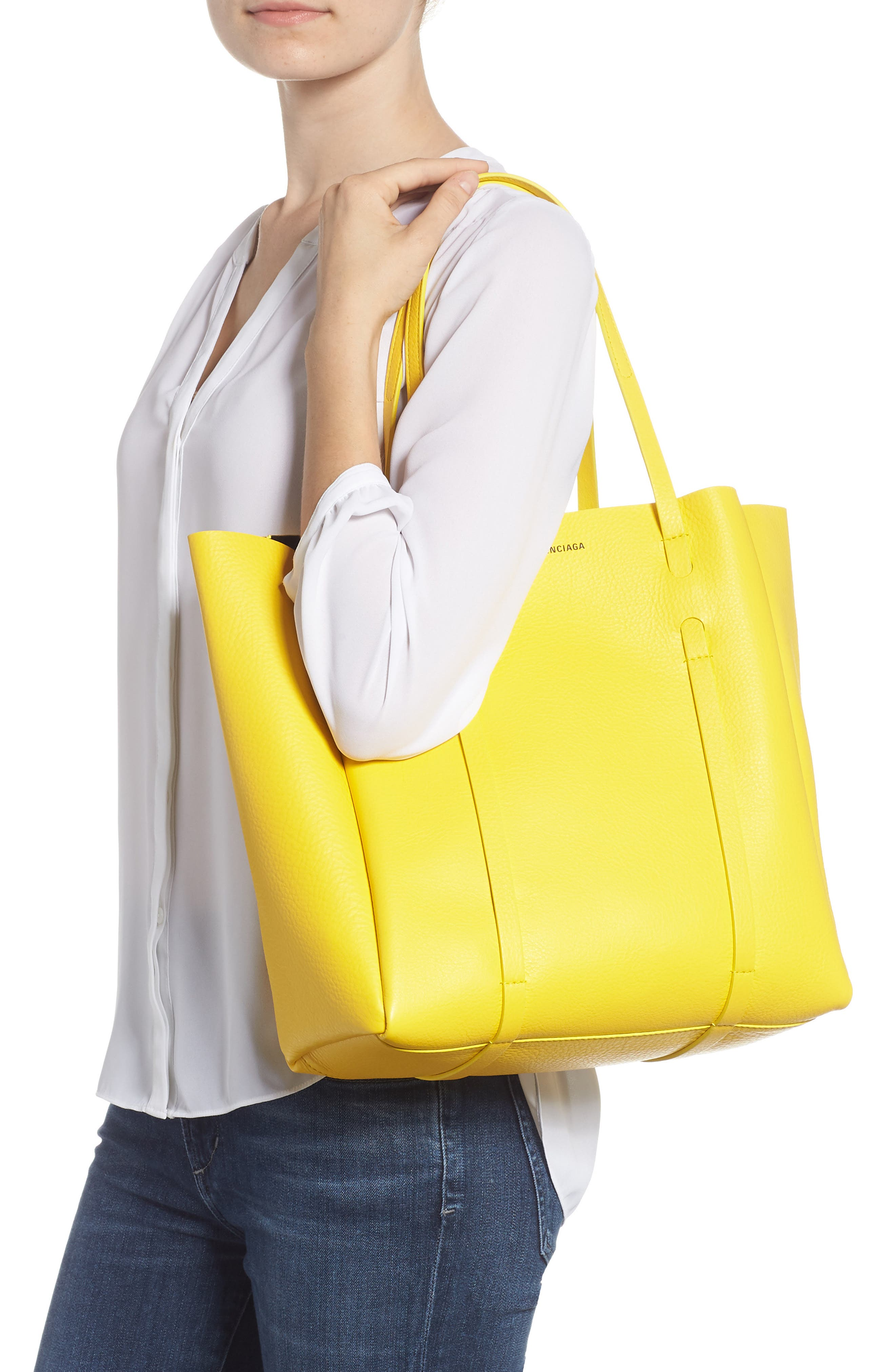 Small Everyday Calfskin Tote,                             Alternate thumbnail 2, color,                             YELLOW/ NOIR