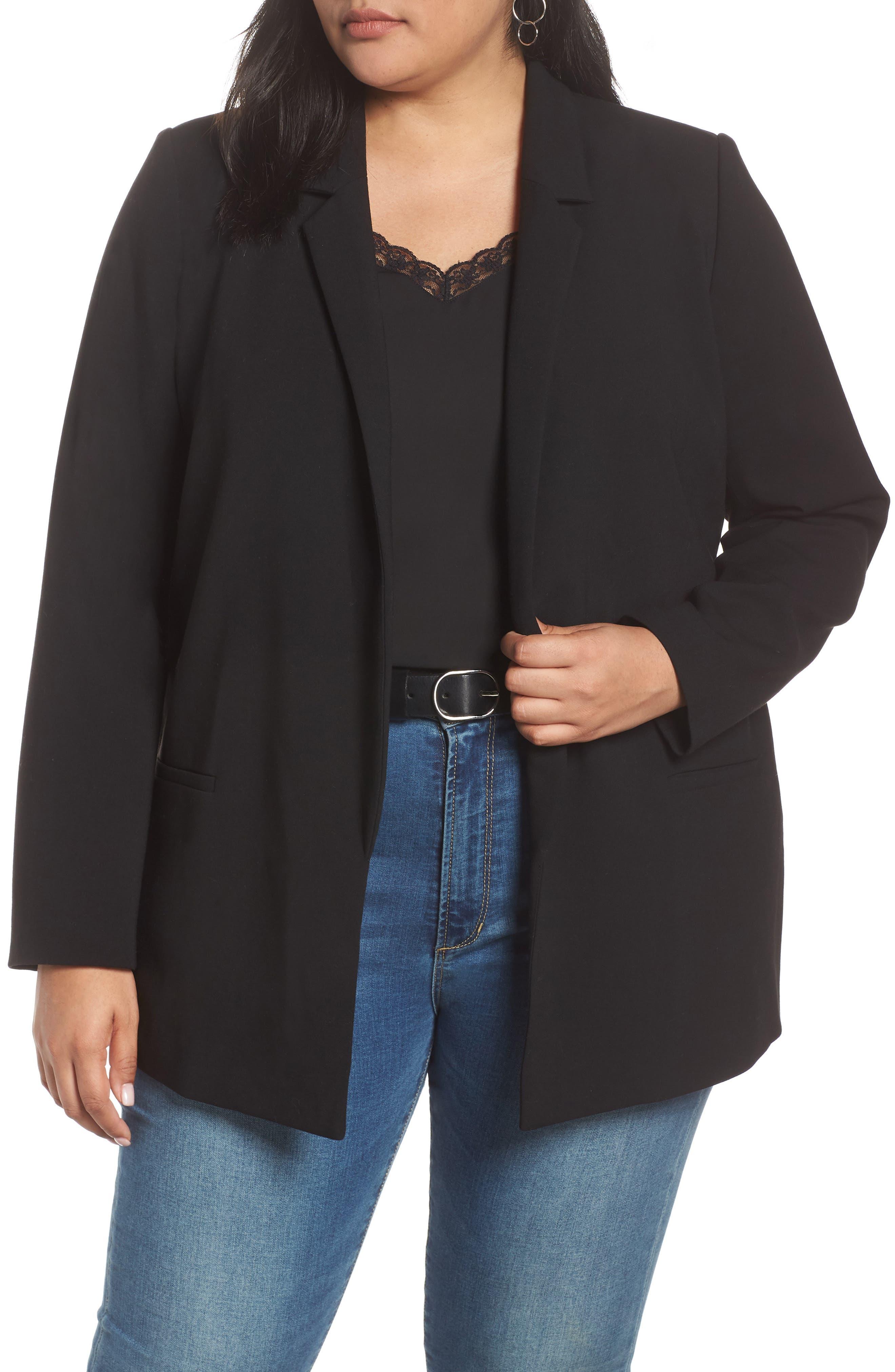 Stretch Twill Blazer, Main, color, BLACK