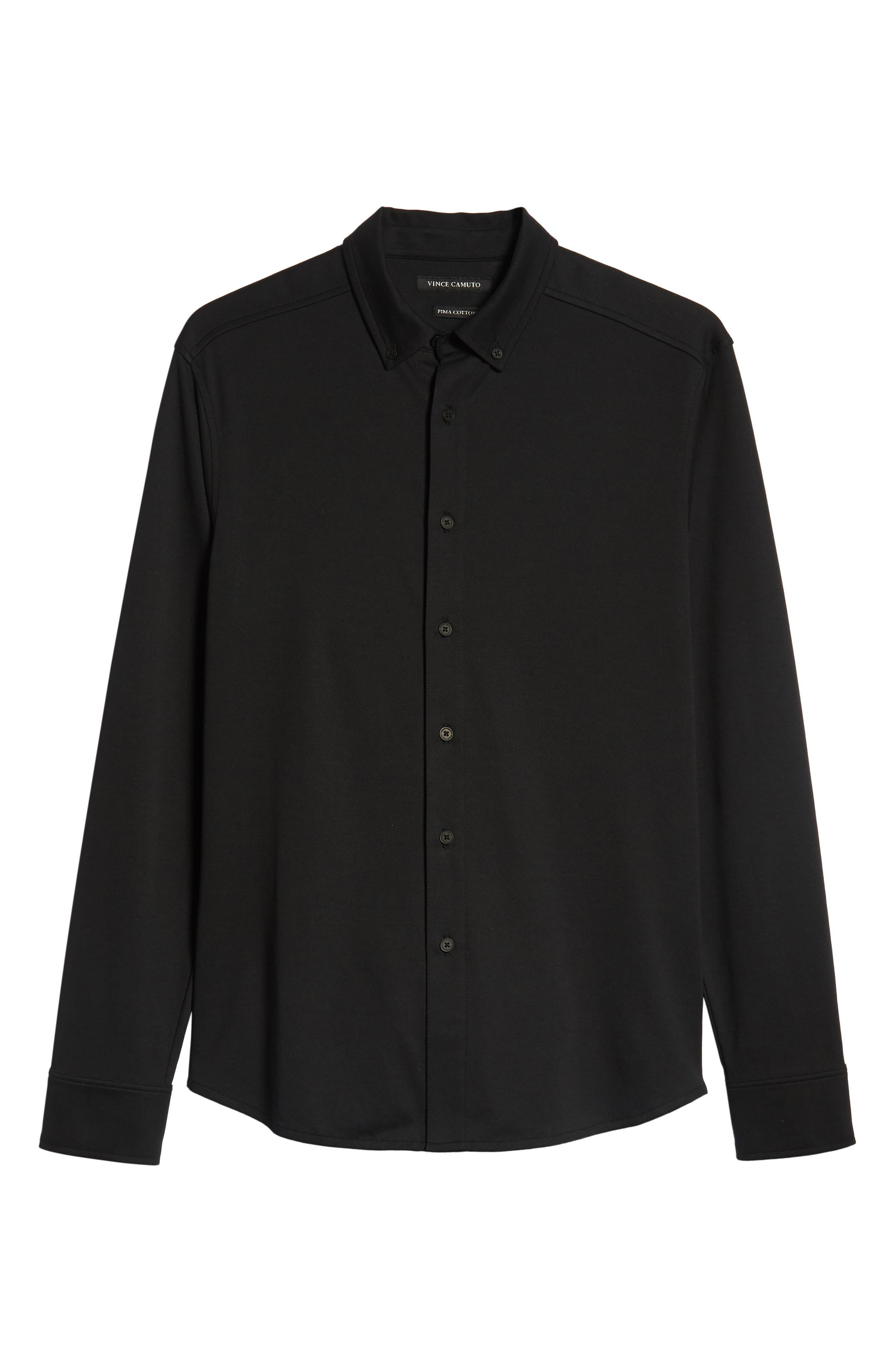 Slim Fit Button Down Collar Sport Shirt,                             Alternate thumbnail 5, color,                             BLACK