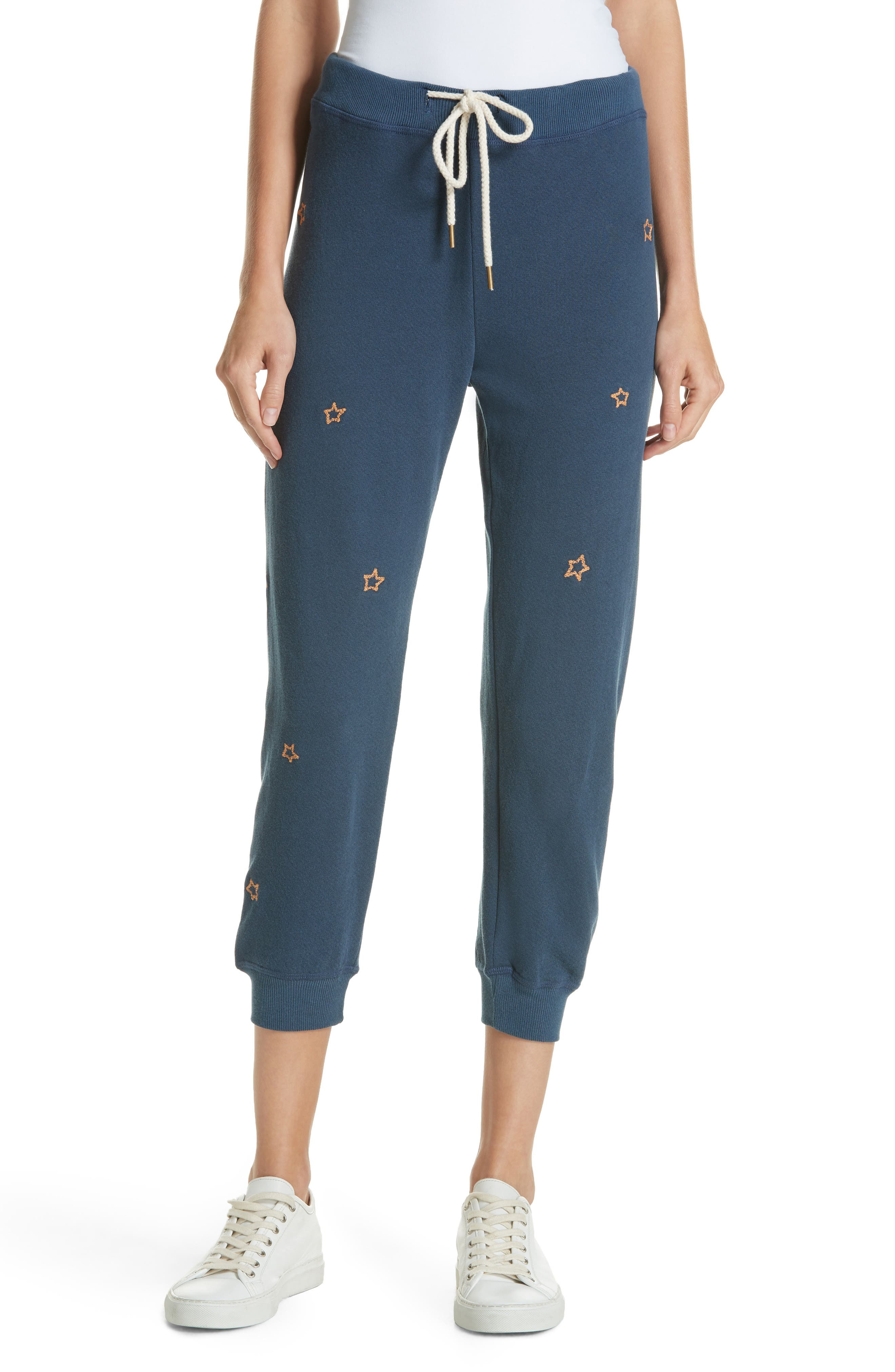 The Cropped Sweatpants,                         Main,                         color, NAVY/ STAR EMBROIDERY