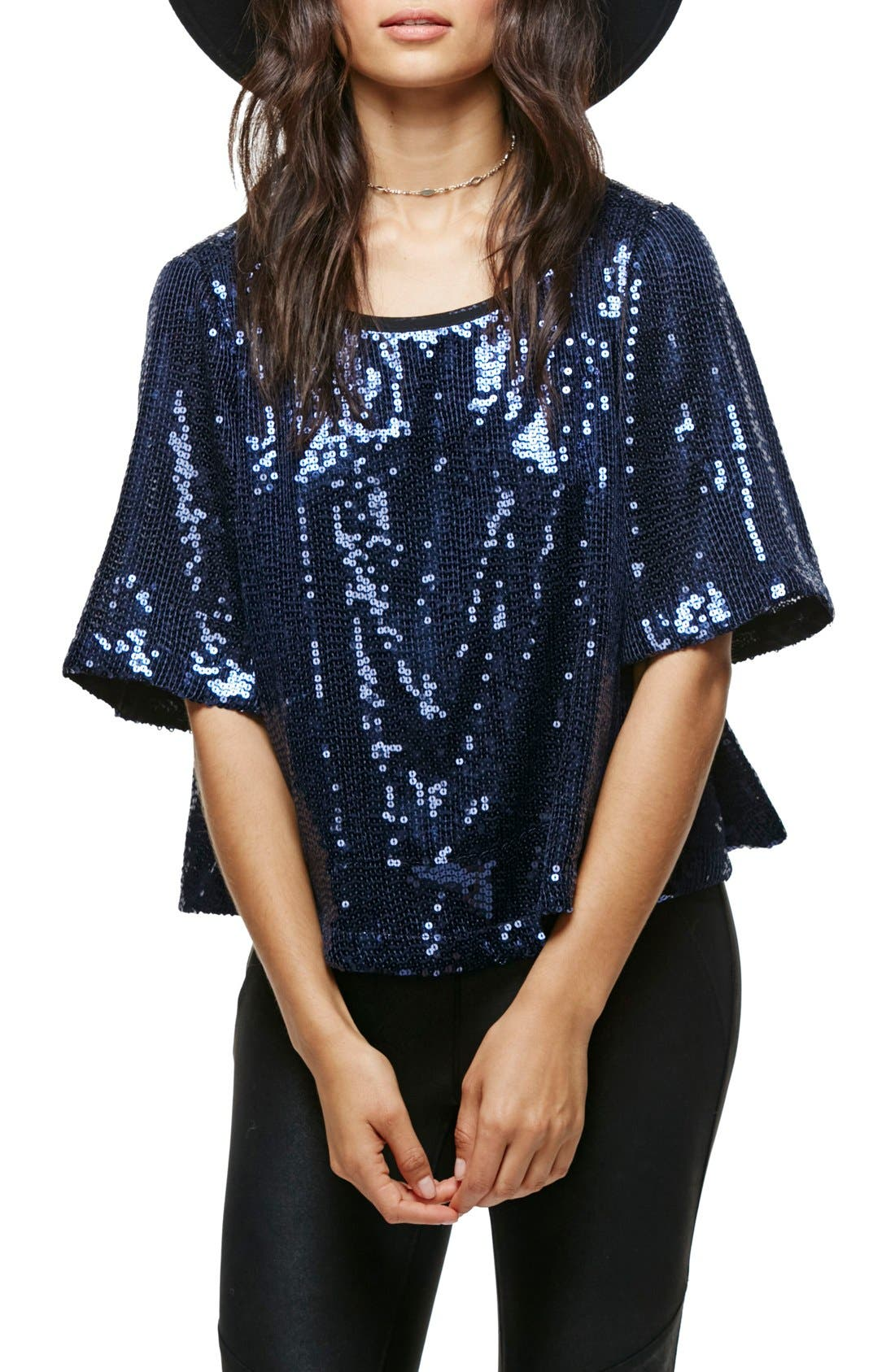 Night Fever Sequin Tee, Main, color, 410