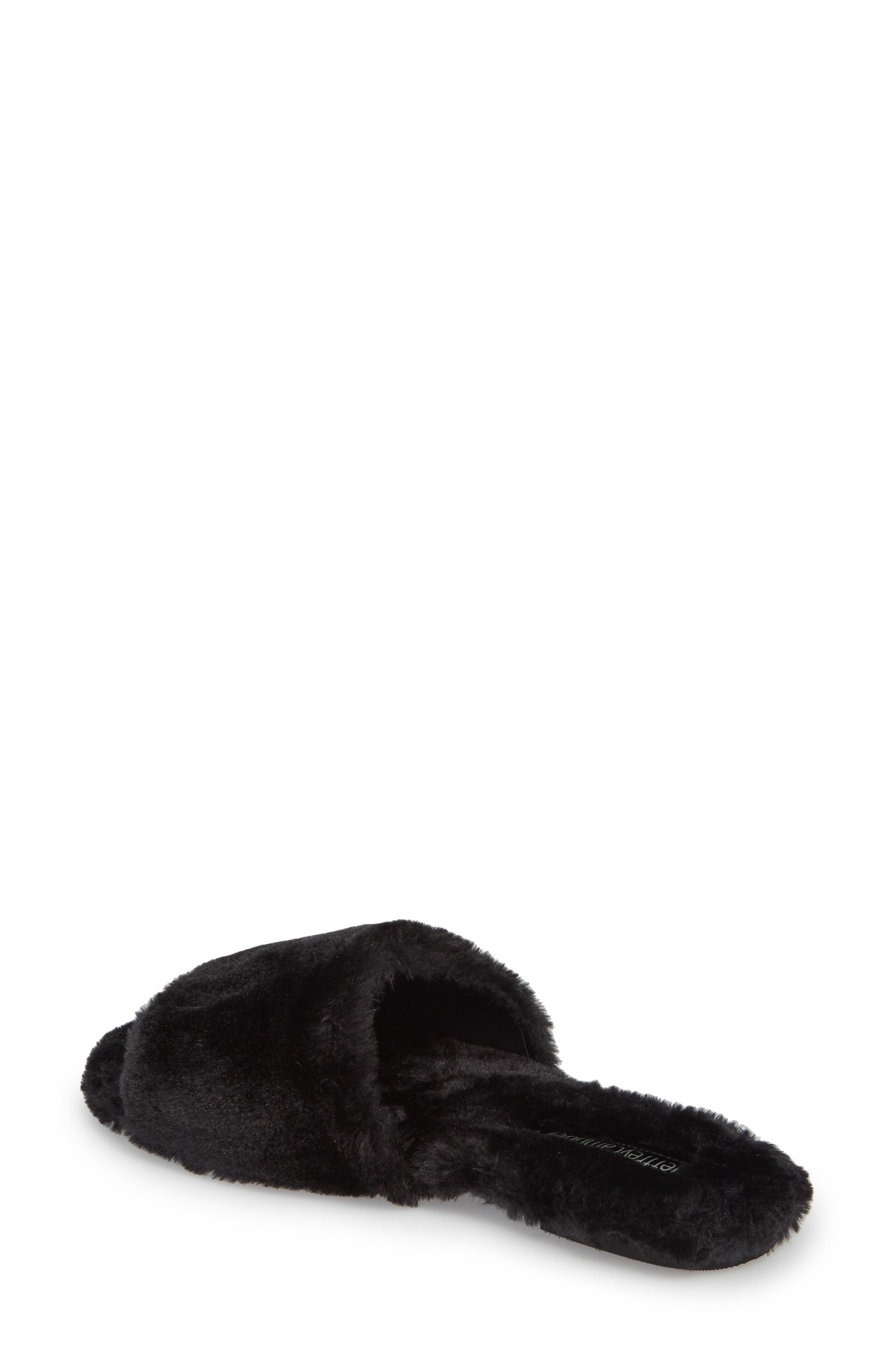 Motel-F Faux Fur Slide Sandal,                             Alternate thumbnail 4, color,