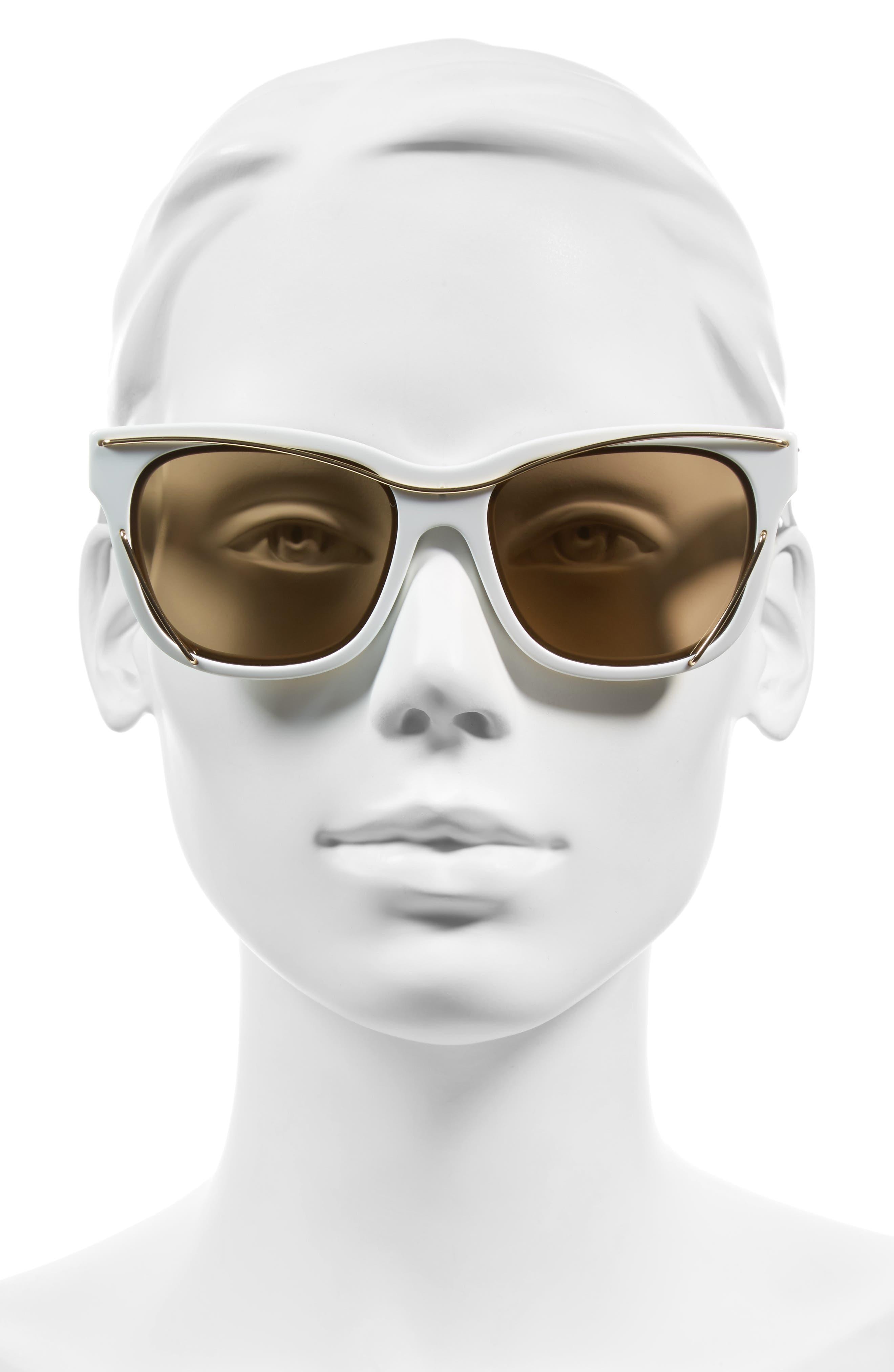 56mm Cat Eye Sunglasses,                             Alternate thumbnail 4, color,