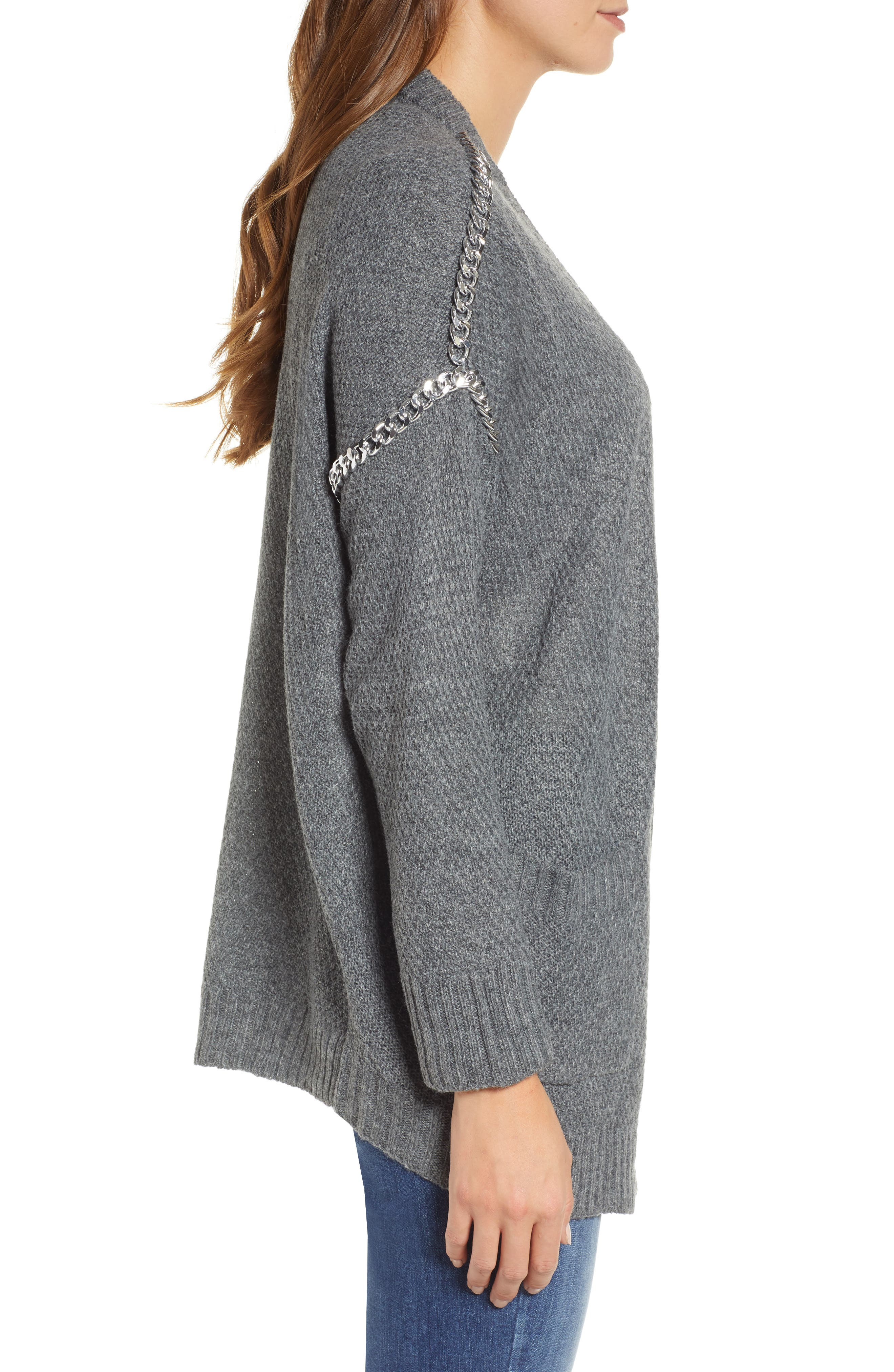 Chain Trim Cardigan,                             Alternate thumbnail 3, color,                             CHARCOAL