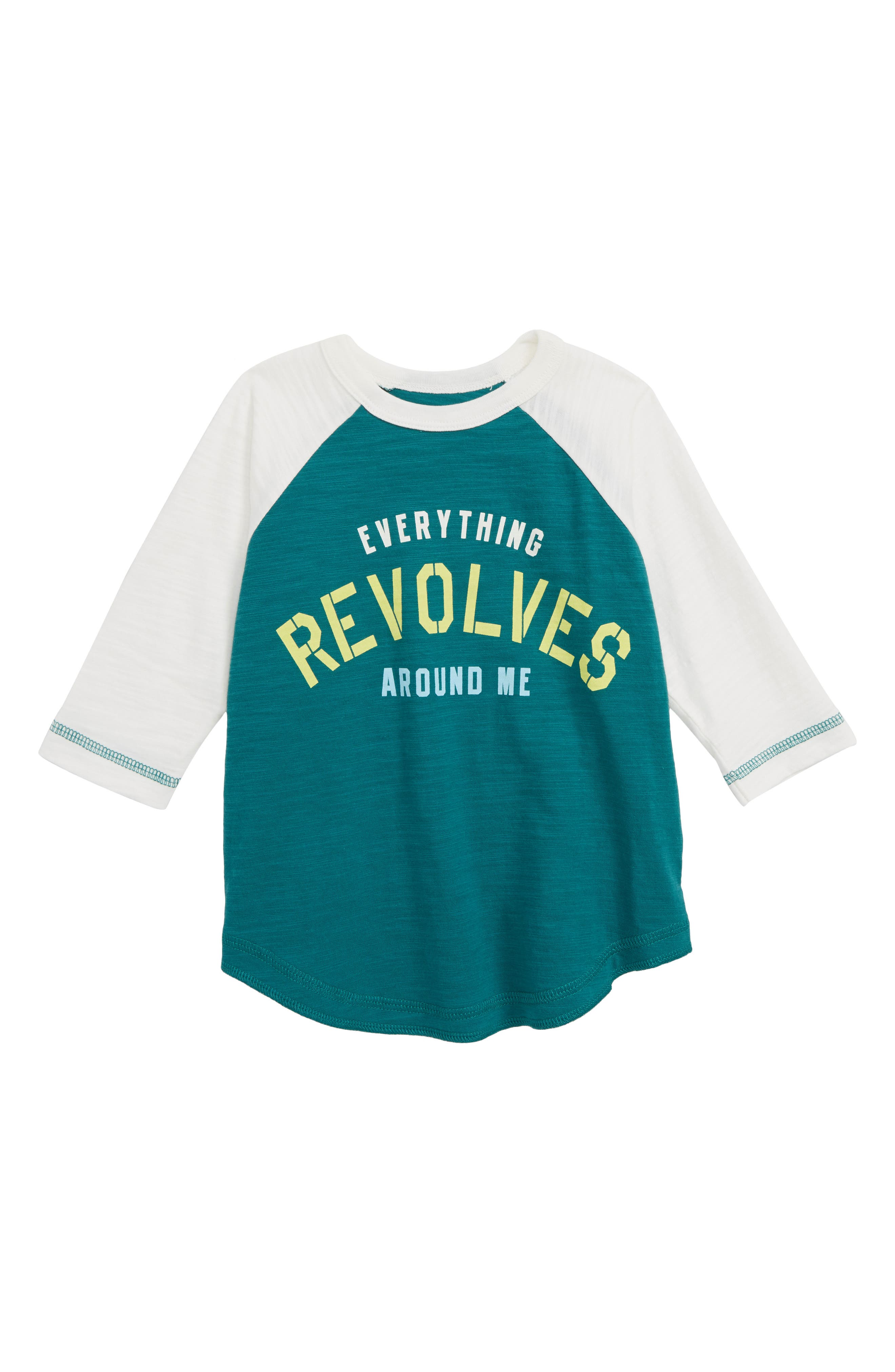 PEEK AREN'T YOU CURIOUS Revolves Around Me T-Shirt, Main, color, GREEN