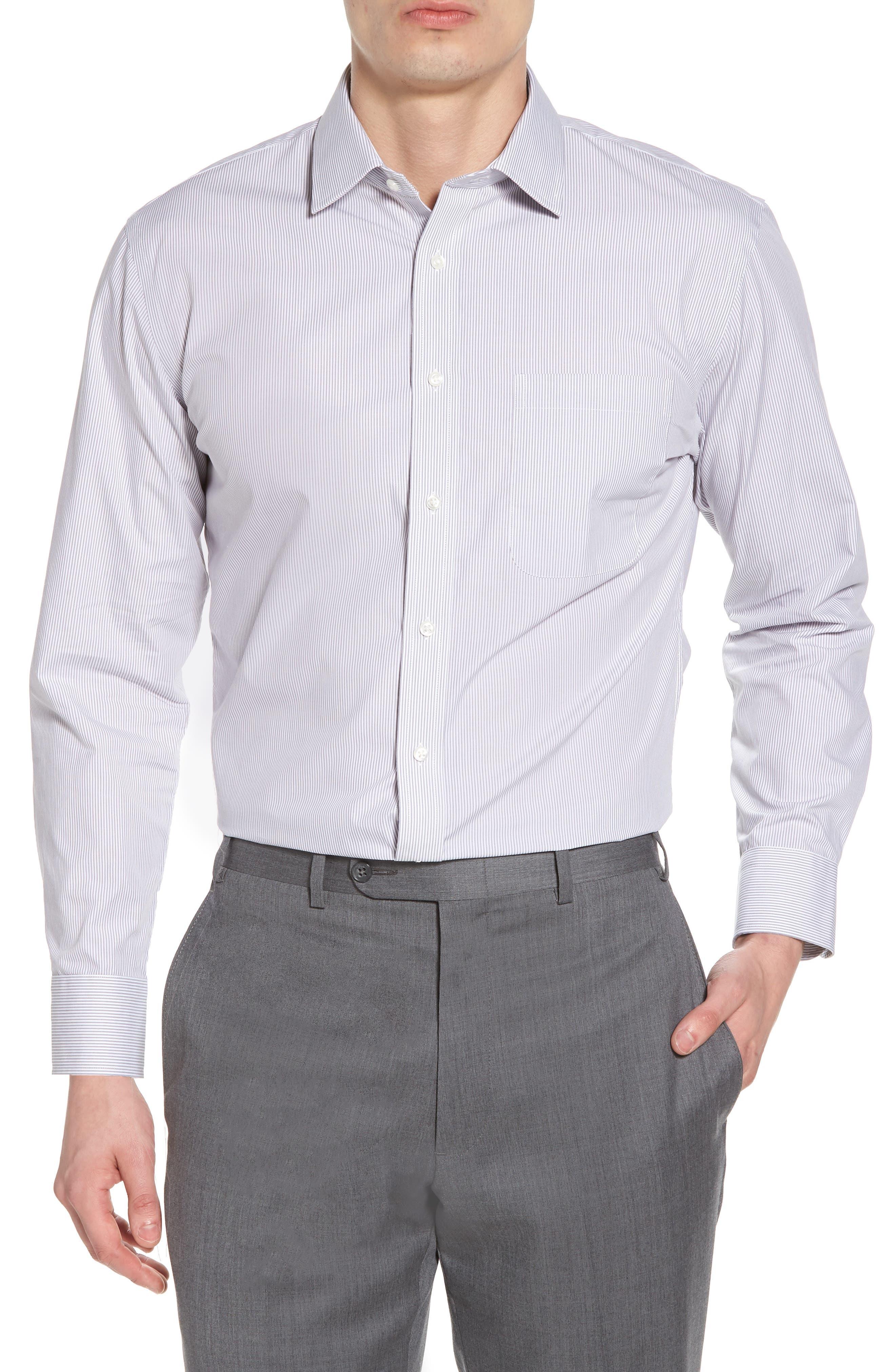 Trim Fit Non-Iron Stripe Dress Shirt,                         Main,                         color,