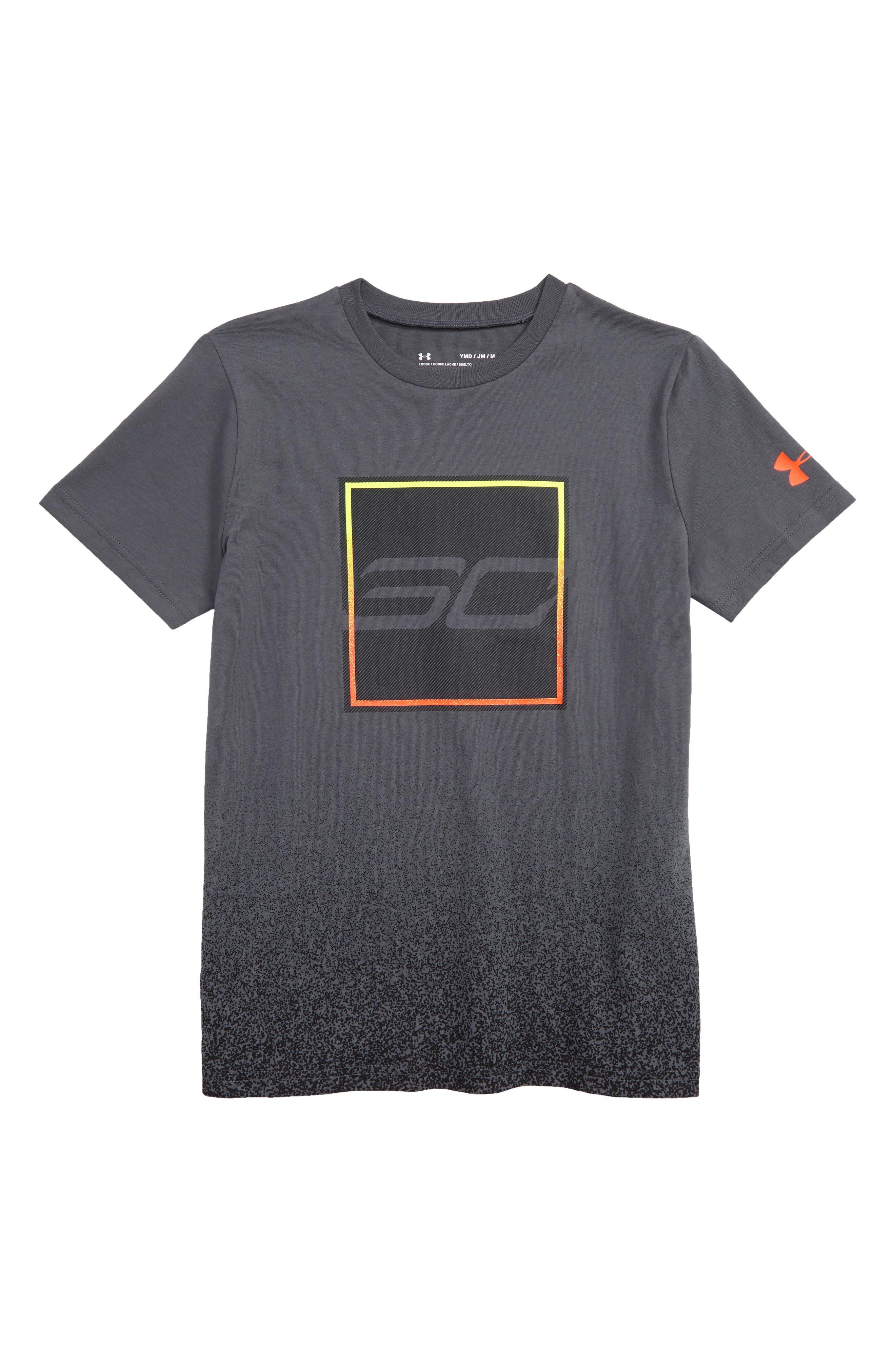 UNDER ARMOUR,                             SC30 Box HeatGear<sup>®</sup> T-Shirt,                             Main thumbnail 1, color,                             PITCH GRAY/ ORANGE GLITCH