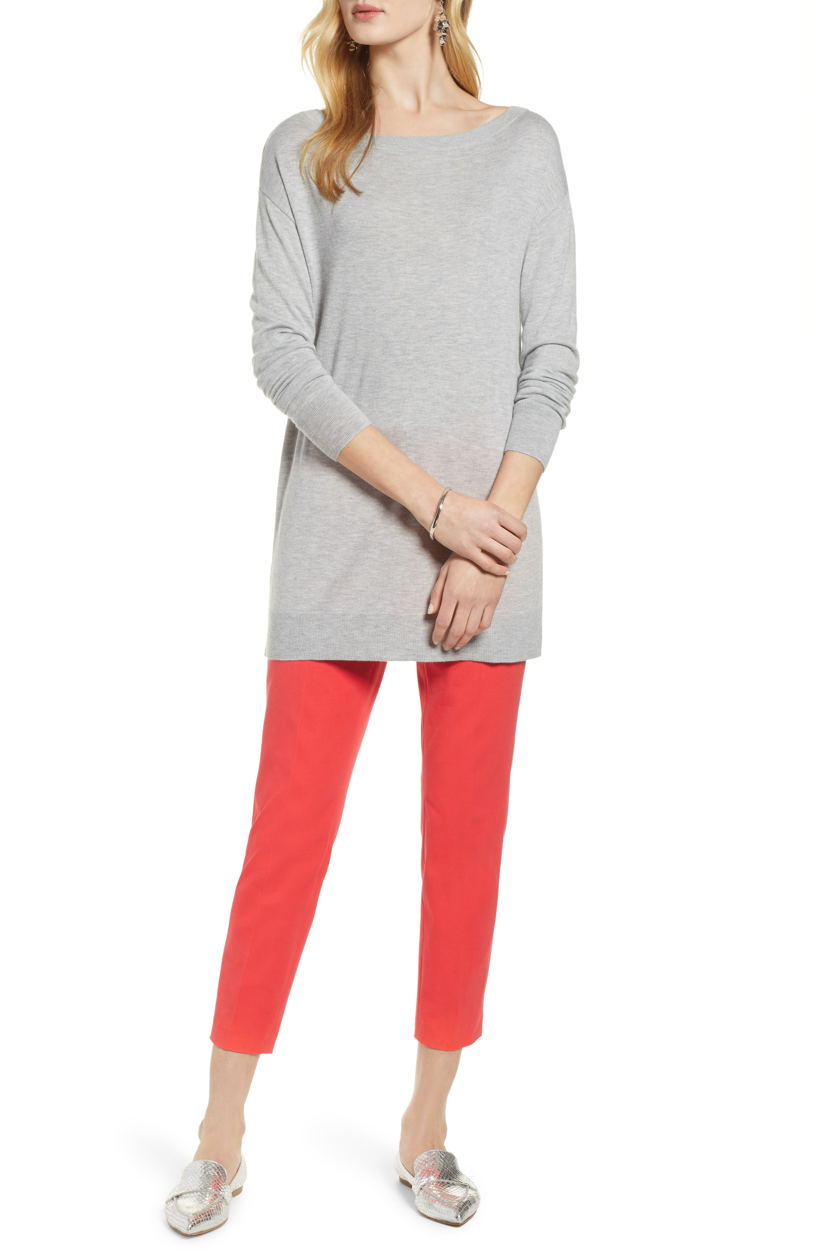 Boatneck Tunic Sweater,                         Main,                         color, GREY HEATHER