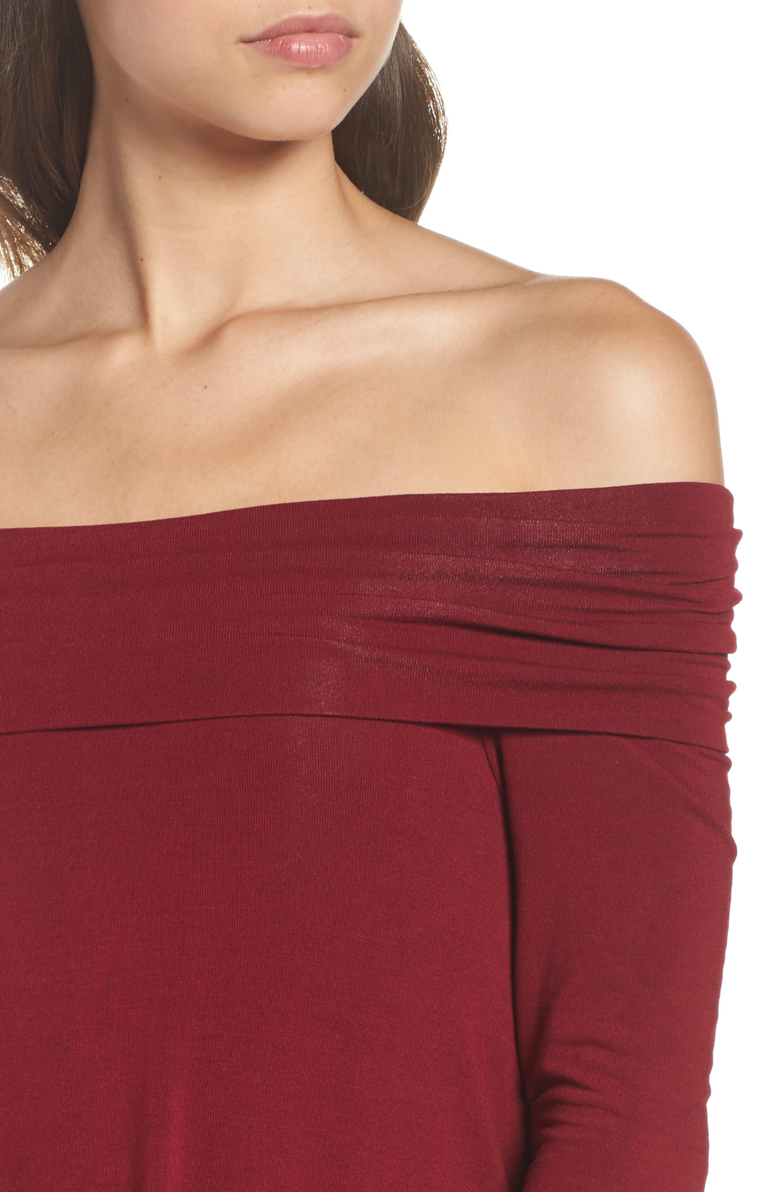 Off the Shoulder Knit A-Line Dress,                             Alternate thumbnail 4, color,                             600