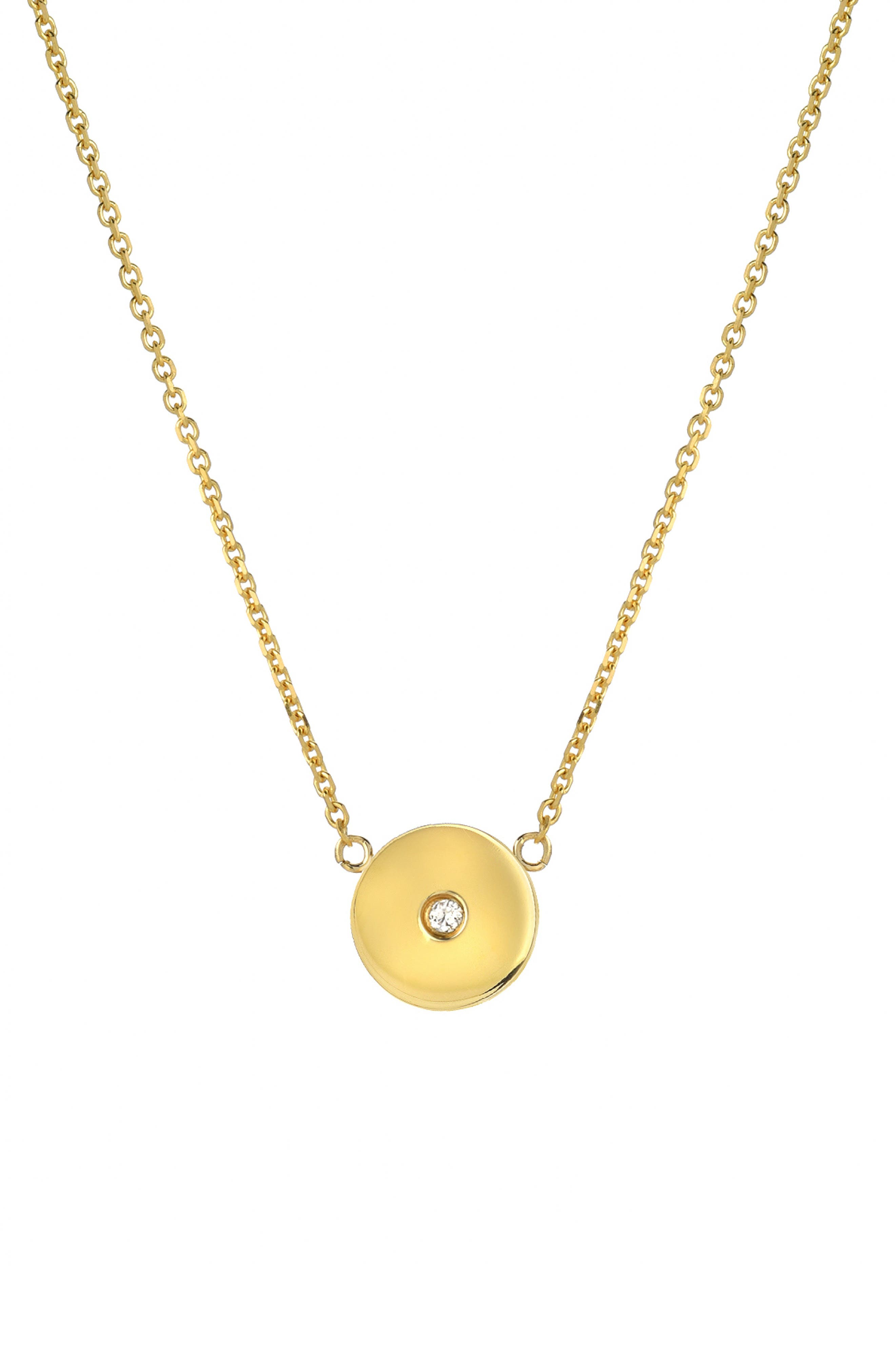 Forever Collection - Circle Diamond Pendant Necklace,                             Main thumbnail 1, color,                             YELLOW GOLD