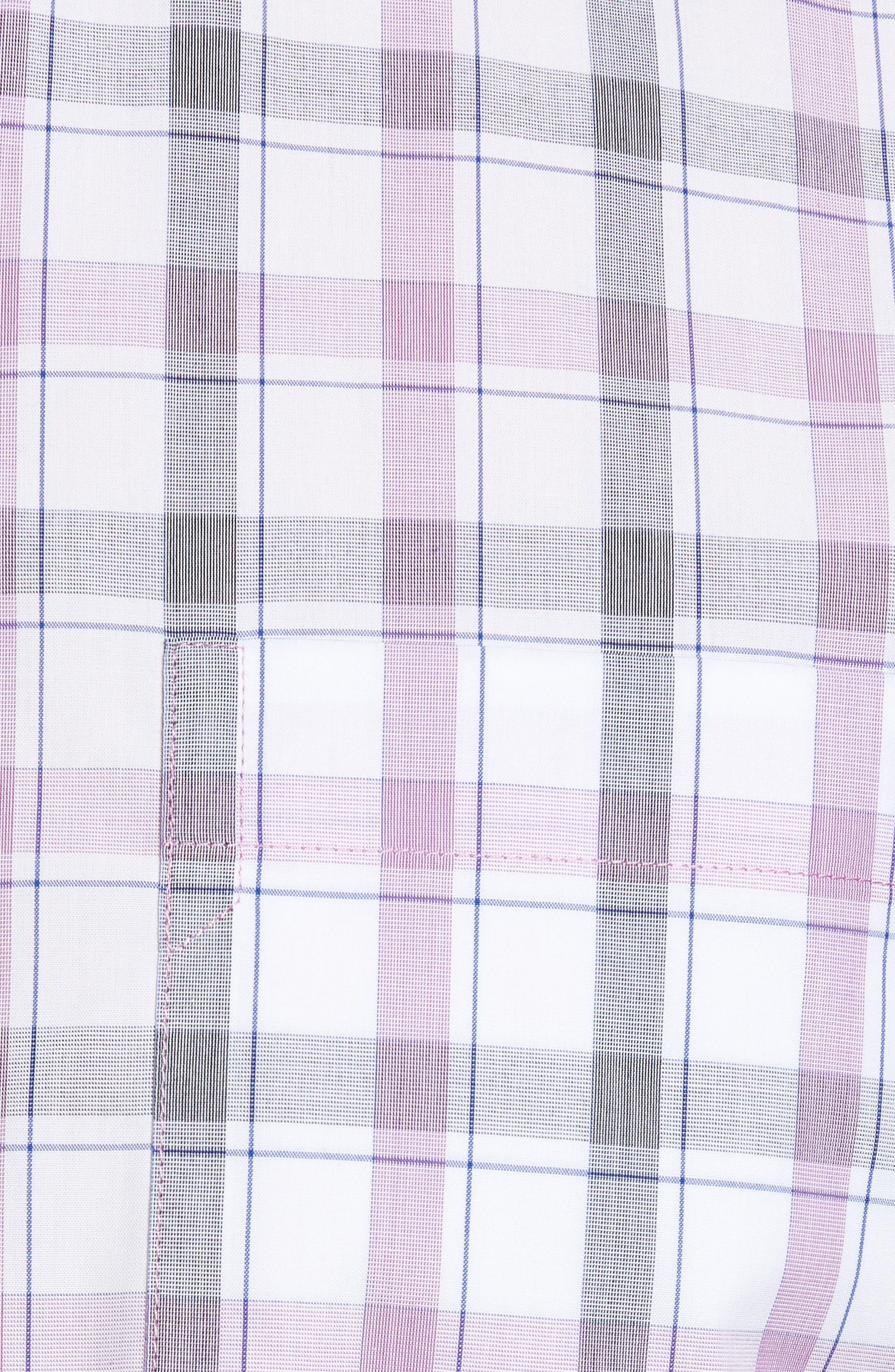 Griffen Non-Iron Plaid Sport Shirt,                             Alternate thumbnail 5, color,