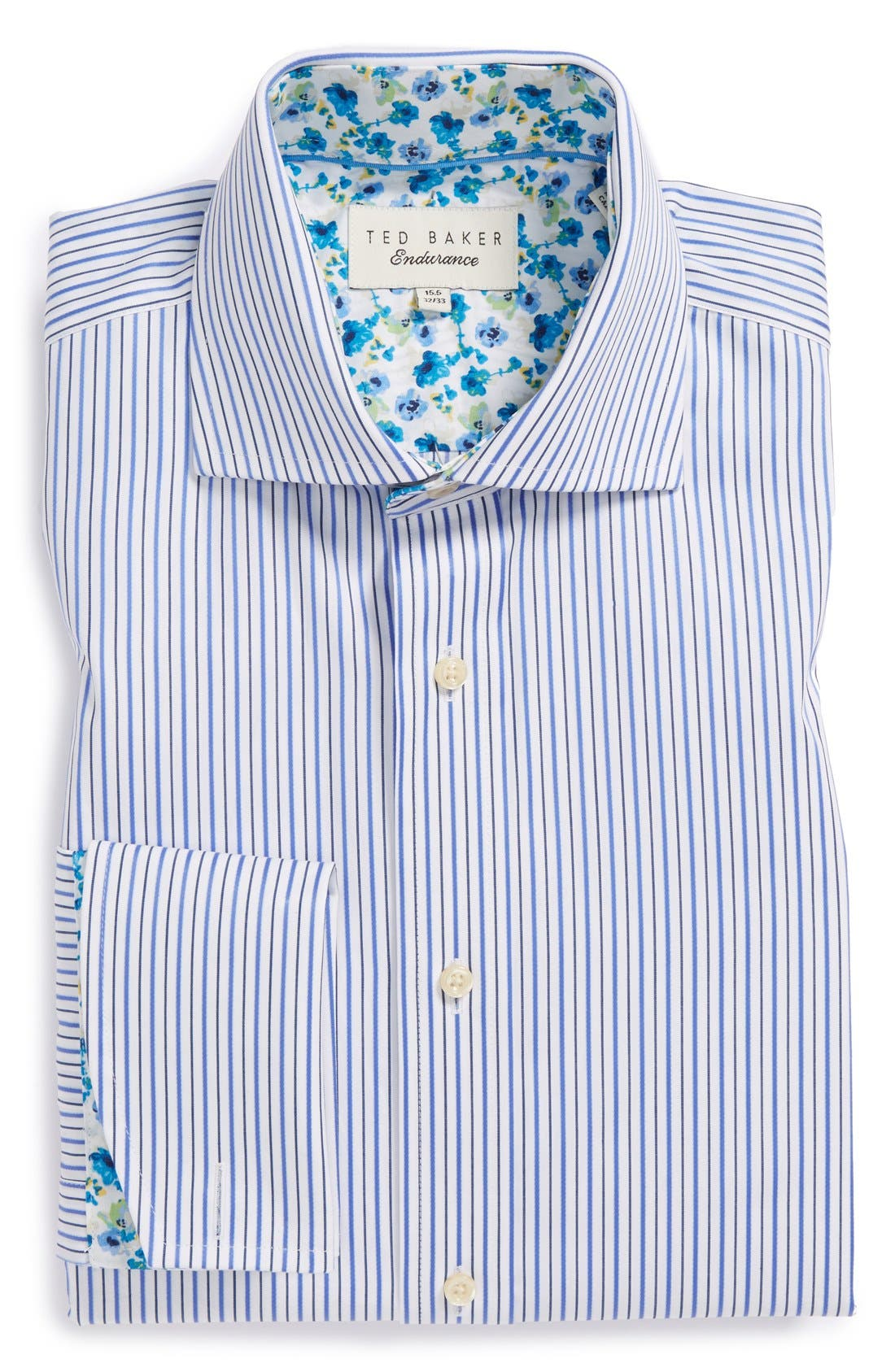 'Takeley' Trim Fit Stripe French Cuff Dress Shirt,                             Main thumbnail 1, color,                             421