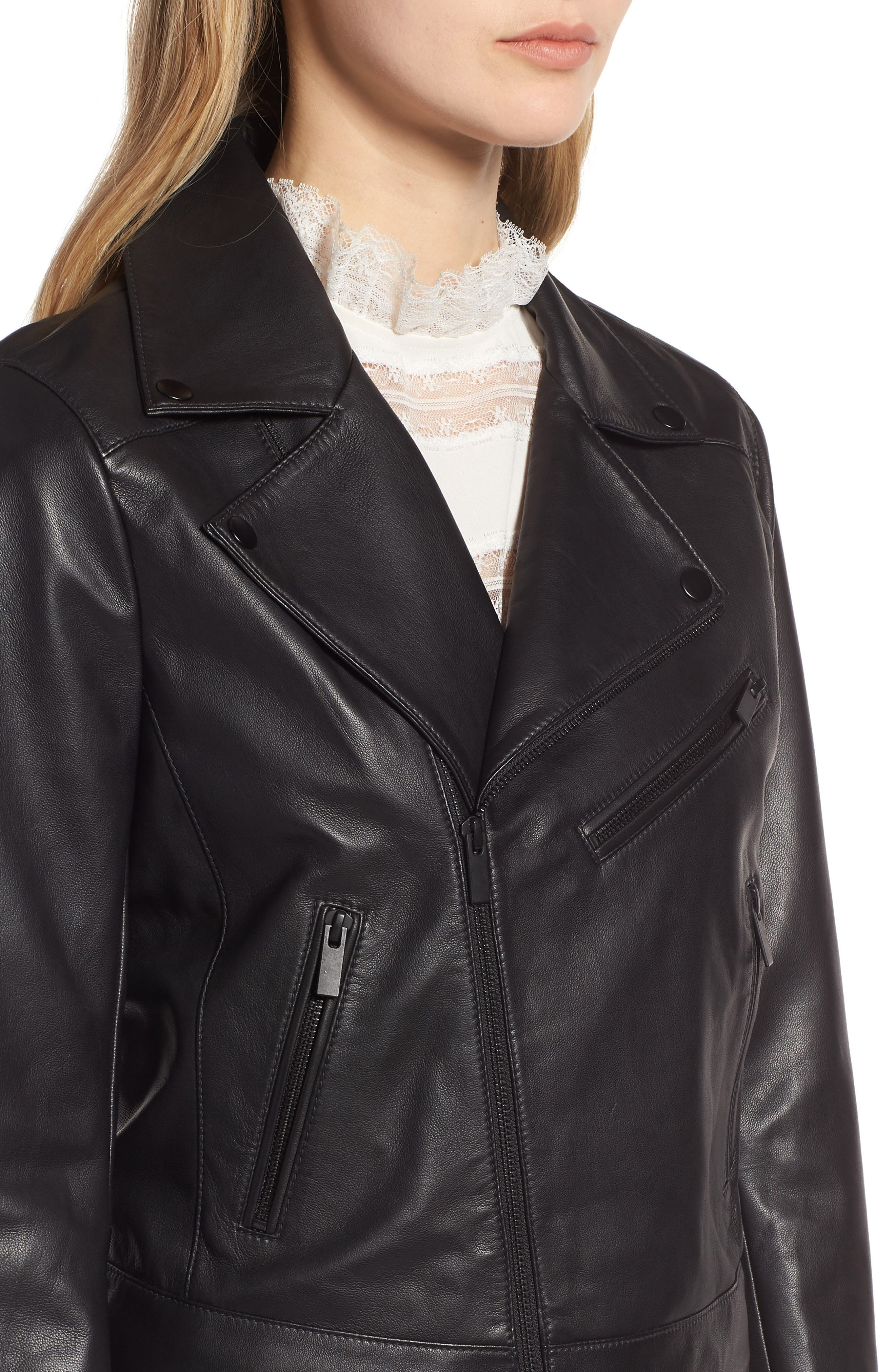 Leather Moto Jacket,                             Alternate thumbnail 4, color,                             001