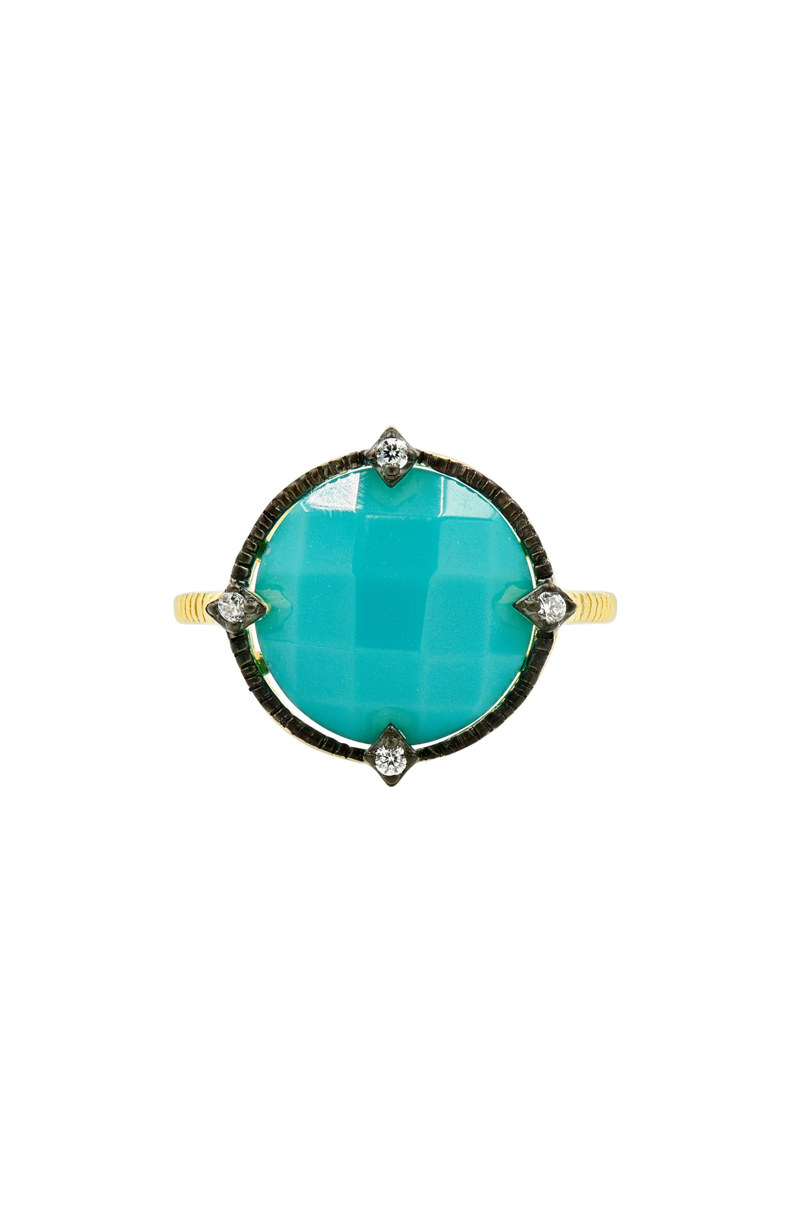 FREIDA ROTHMAN Color Theory Round Cocktail Ring - Turquoise, Size 7 in Gold/ Black/ Turquoise