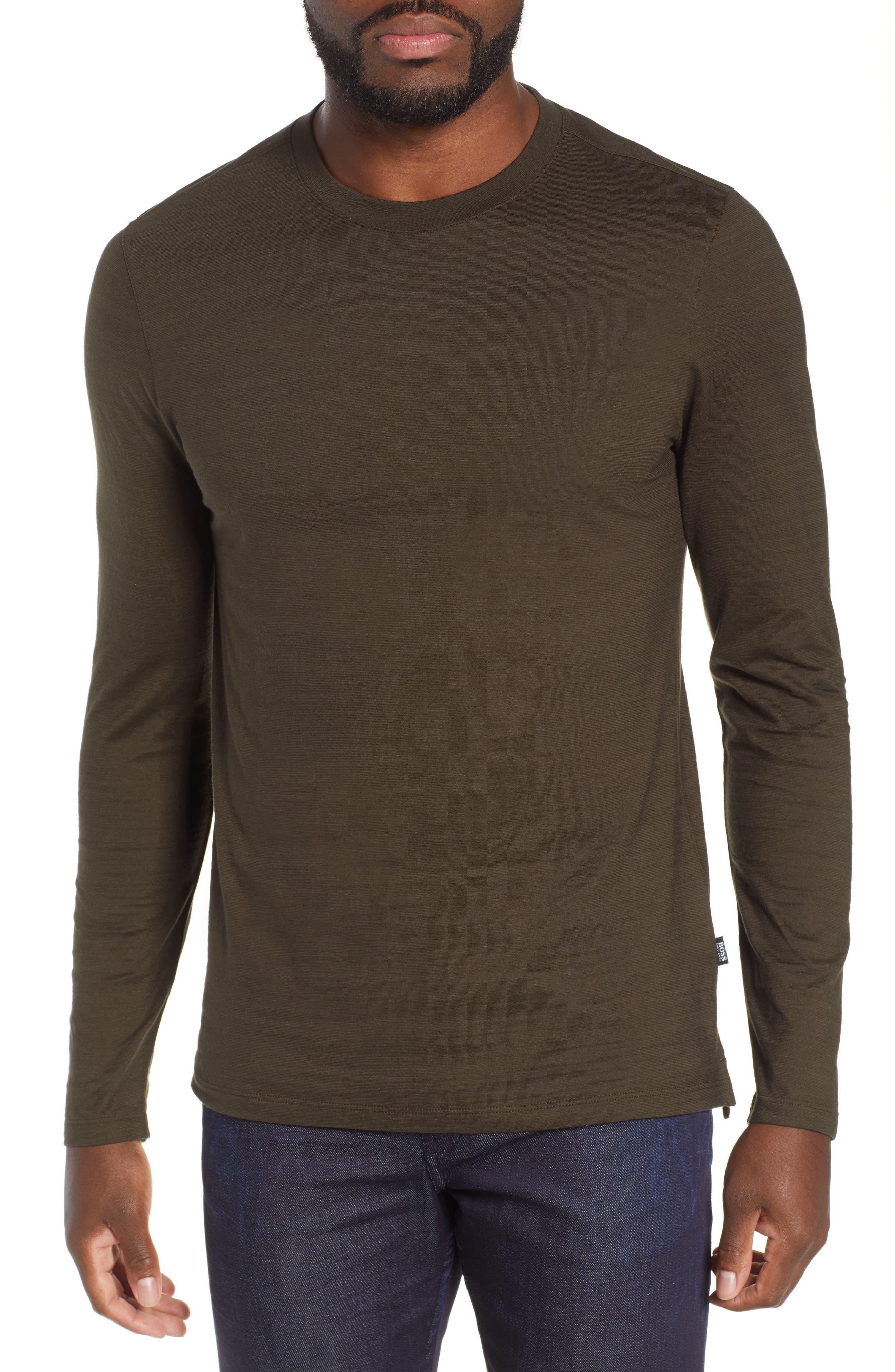 Tenison Long Sleeve Crewneck T-Shirt,                         Main,                         color, DARK GREEN