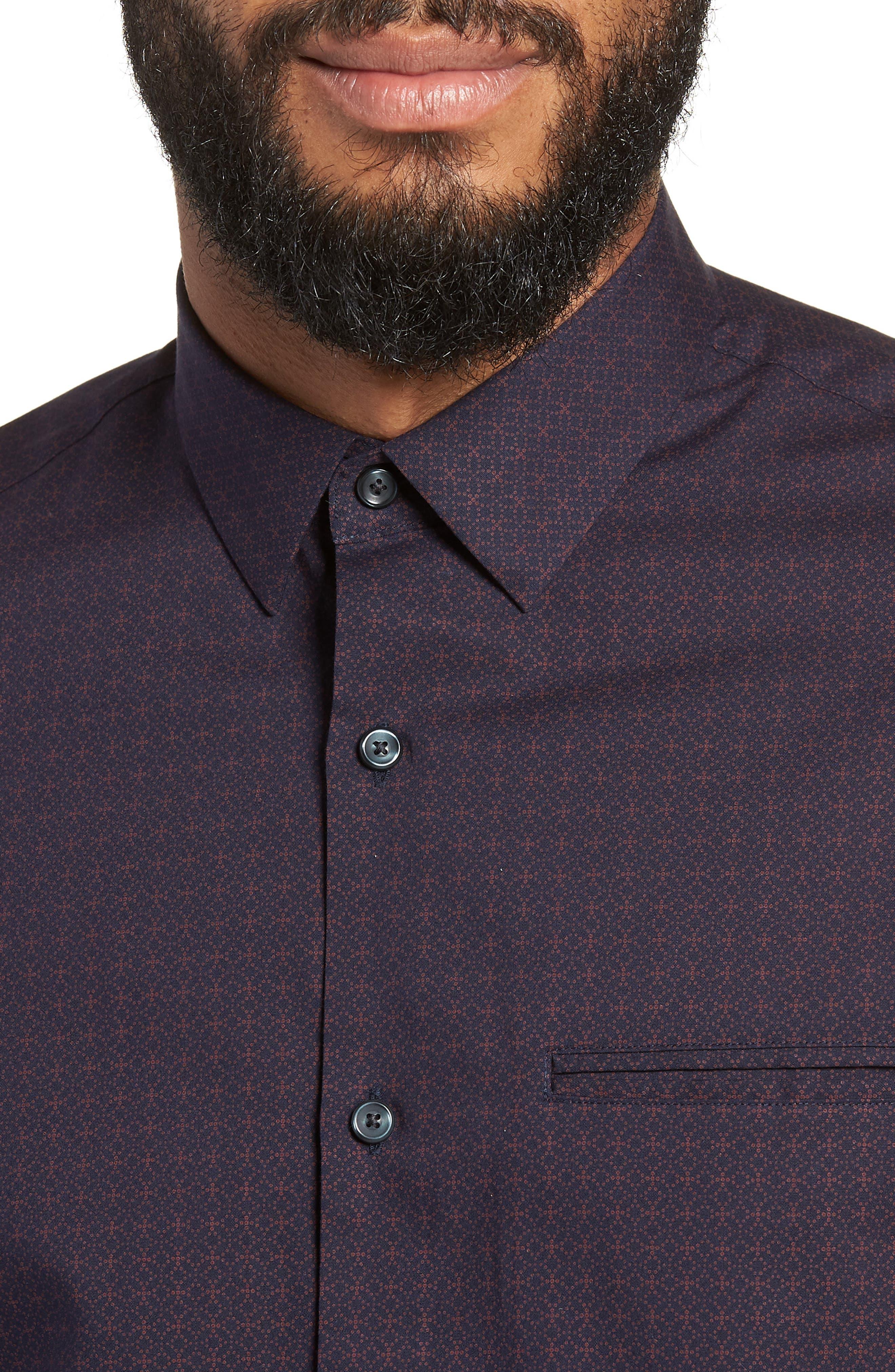 Slim Fit Print Non Iron Sport Shirt,                             Alternate thumbnail 4, color,                             NAVY NIGHT BURGUNDY GEO