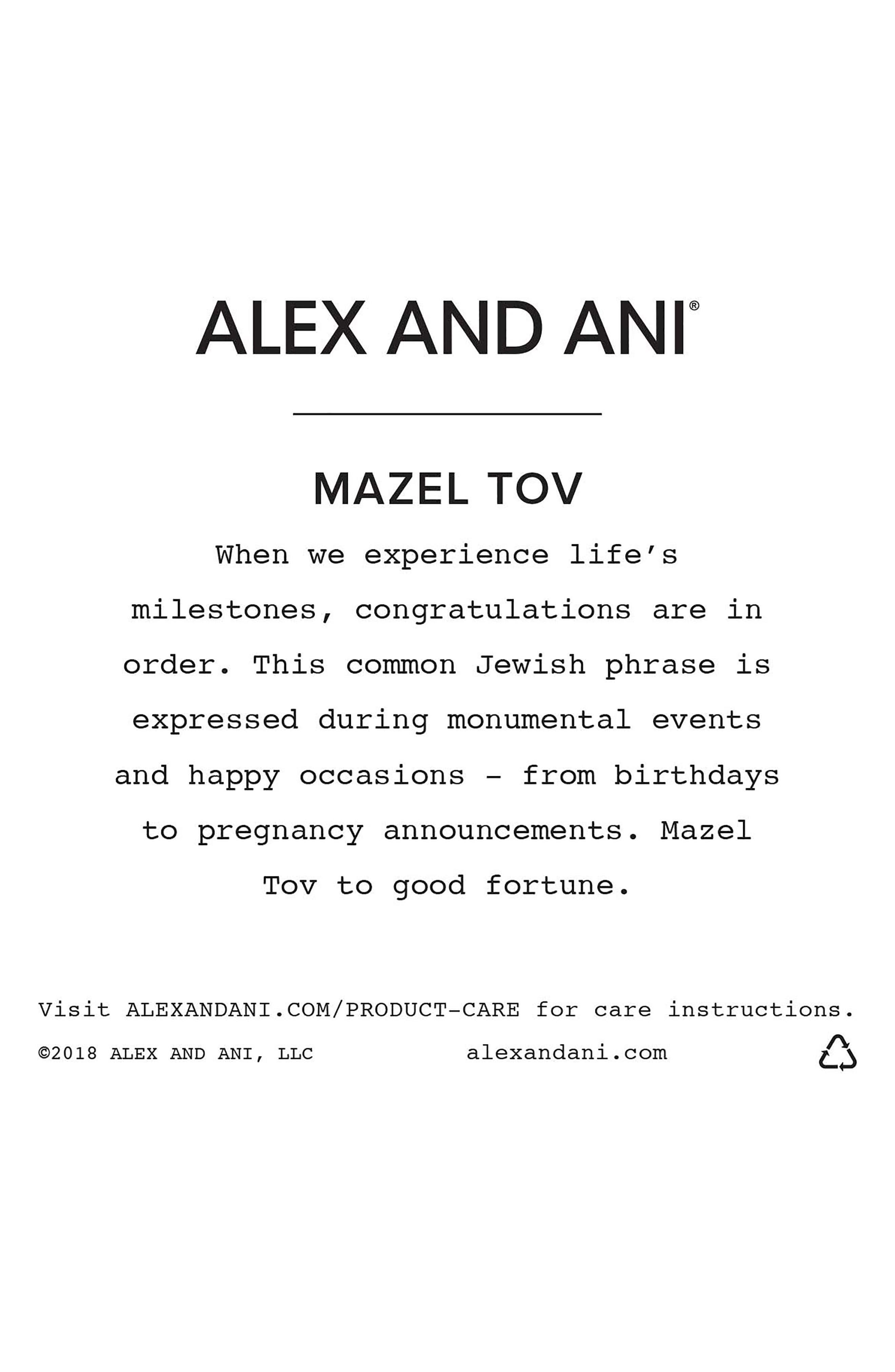 Mazel Tov Charm Bangle,                             Alternate thumbnail 4, color,                             SILVER