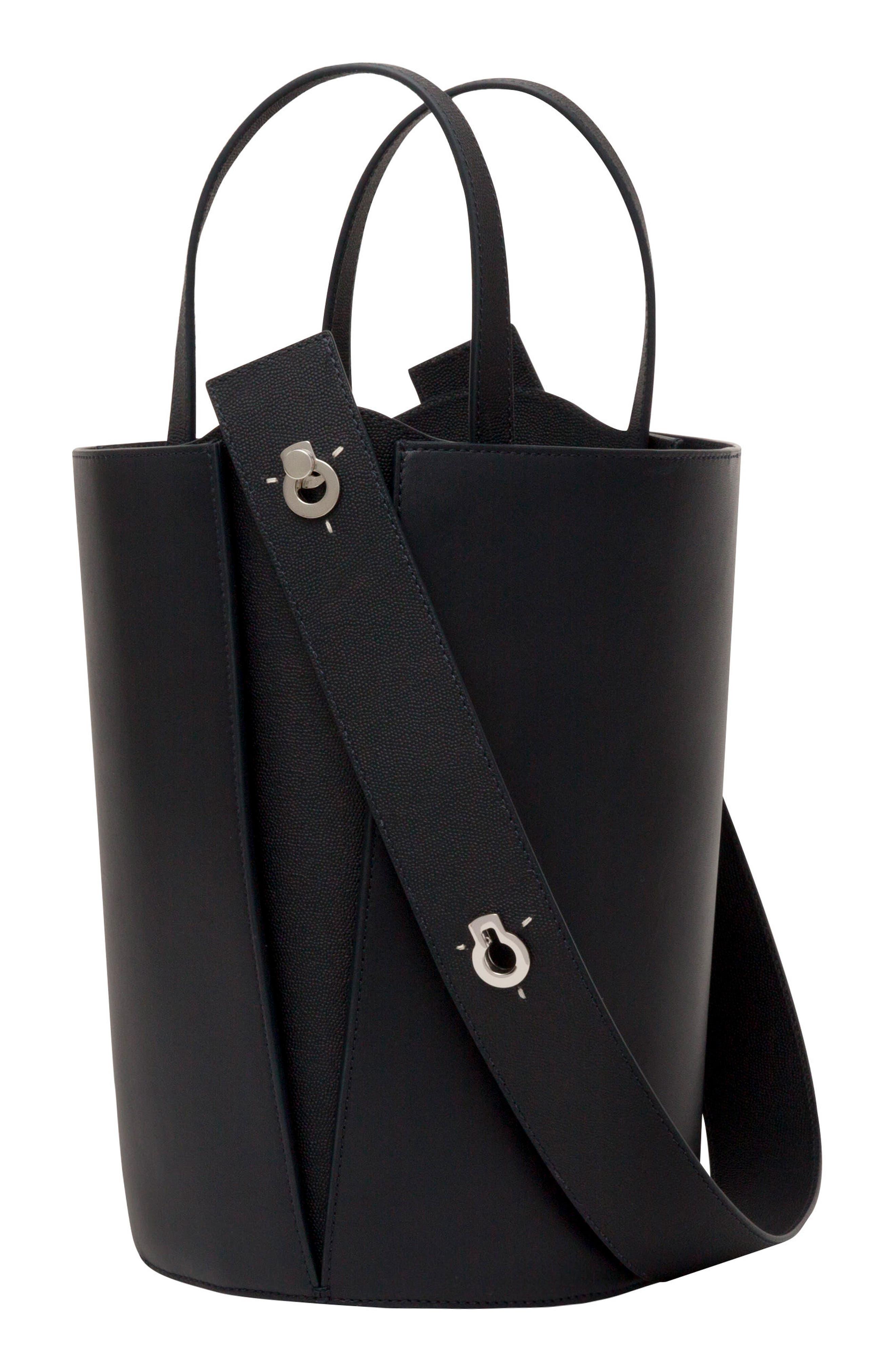 Mini Lorna Leather Bucket Bag,                         Main,                         color, MARINE
